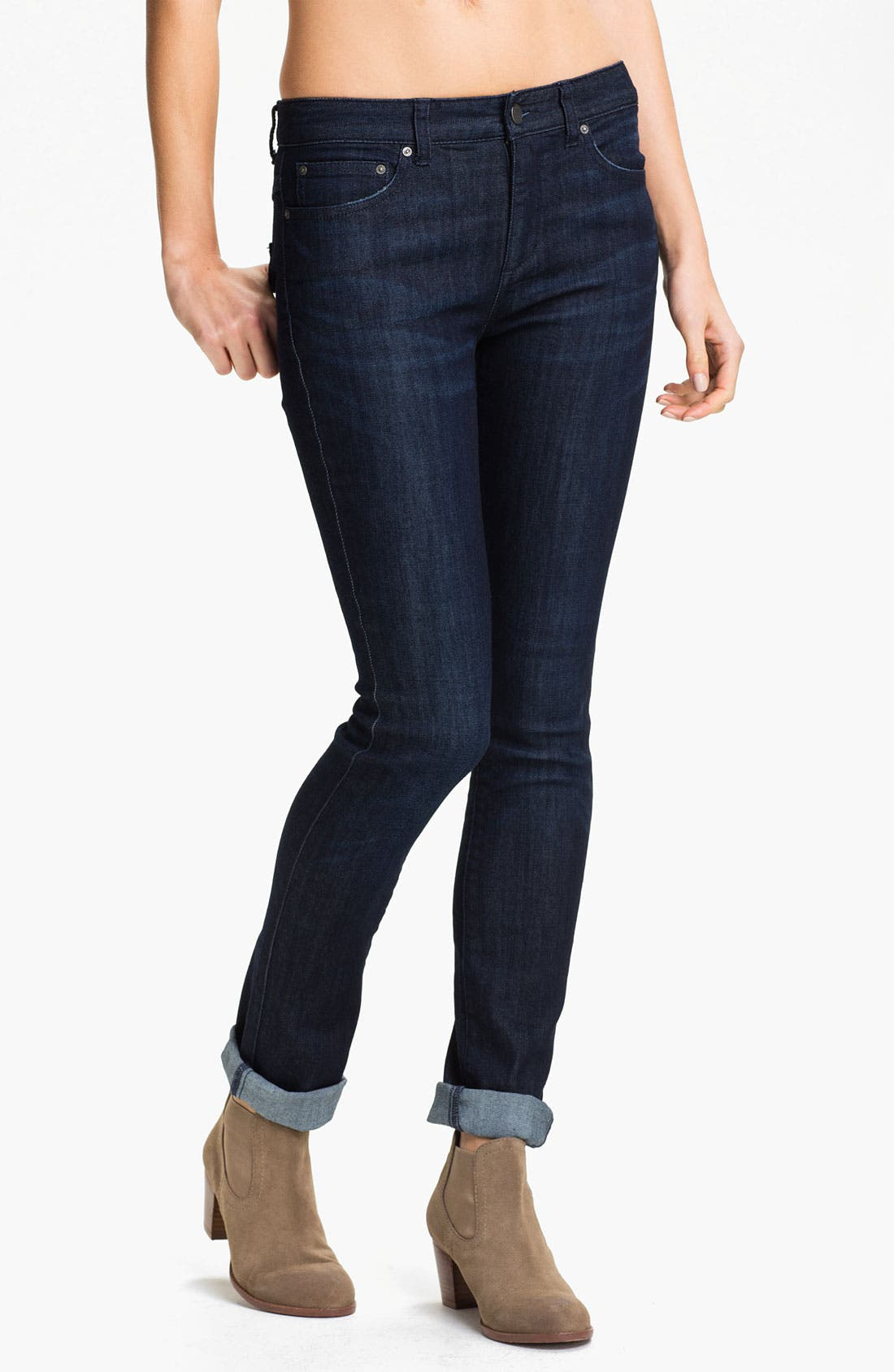Main Image - Free People Stretch Denim Skinny Jeans (Dark Eagle Blue Wash)