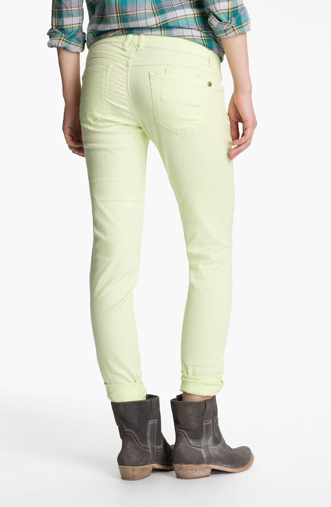 Main Image - Jolt Polka Dot Skinny Jeans (Juniors)