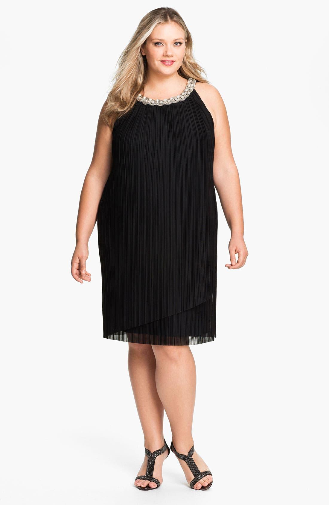 Alternate Image 1 Selected - Donna Ricco Embellished Pleat Mesh Shift Dress (Plus Size)