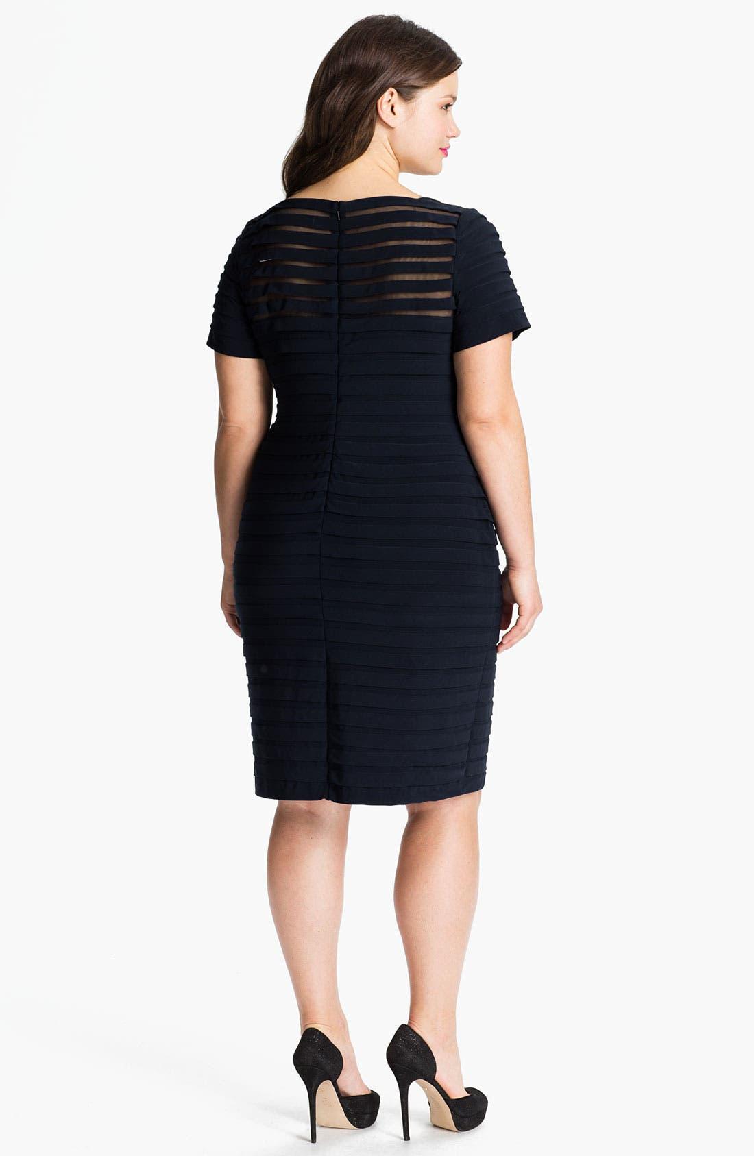 Alternate Image 2  - Adrianna Papell Illusion Bodice Pleated Jersey Sheath Dress (Plus Size)