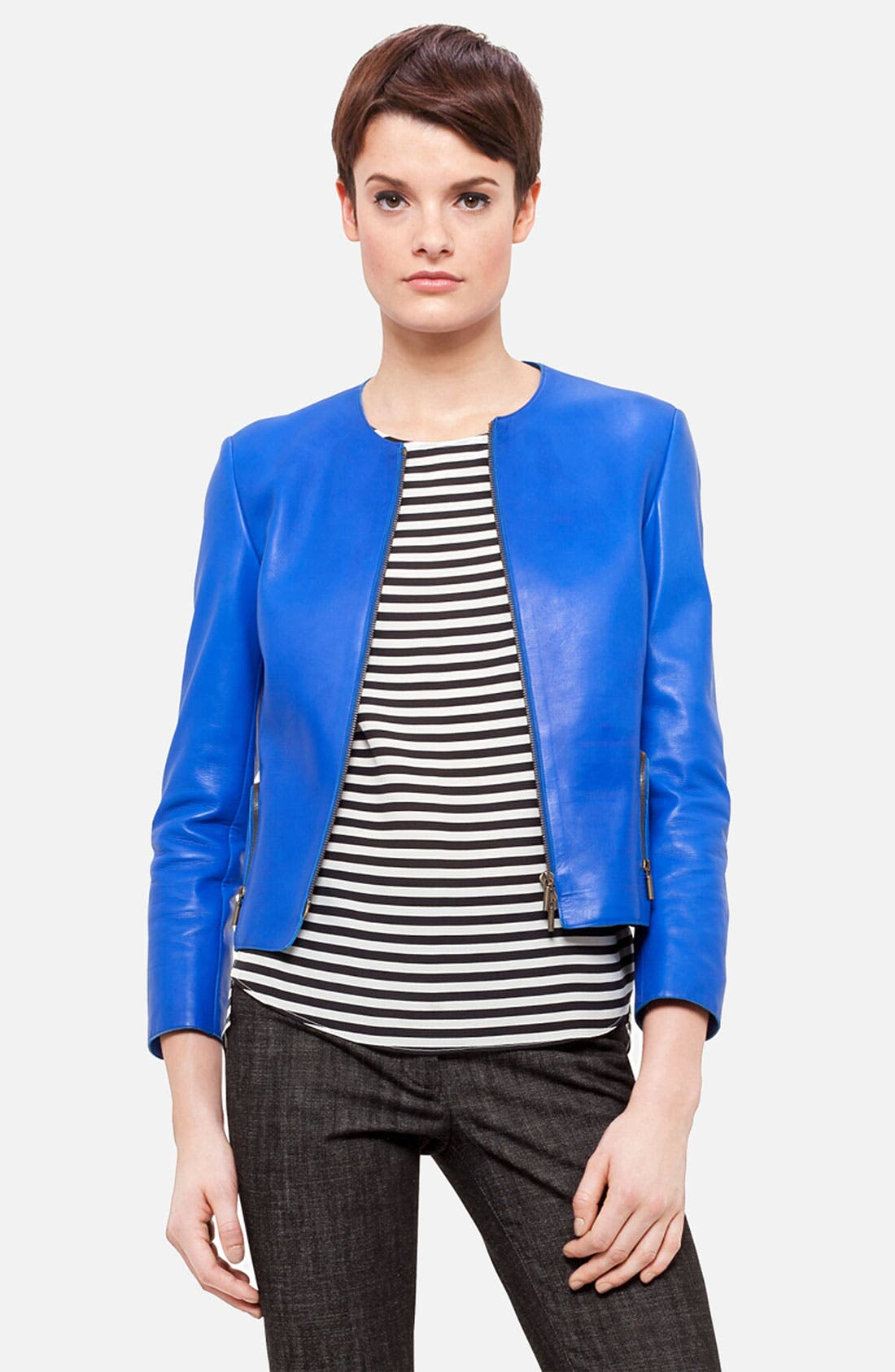 Alternate Image 1 Selected - Akris punto Nappa Leather Jacket