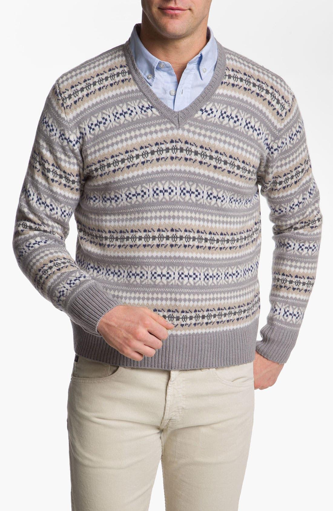 Main Image - Fausto Reali Vannucci V-Neck Merino Wool & Cashmere Sweater