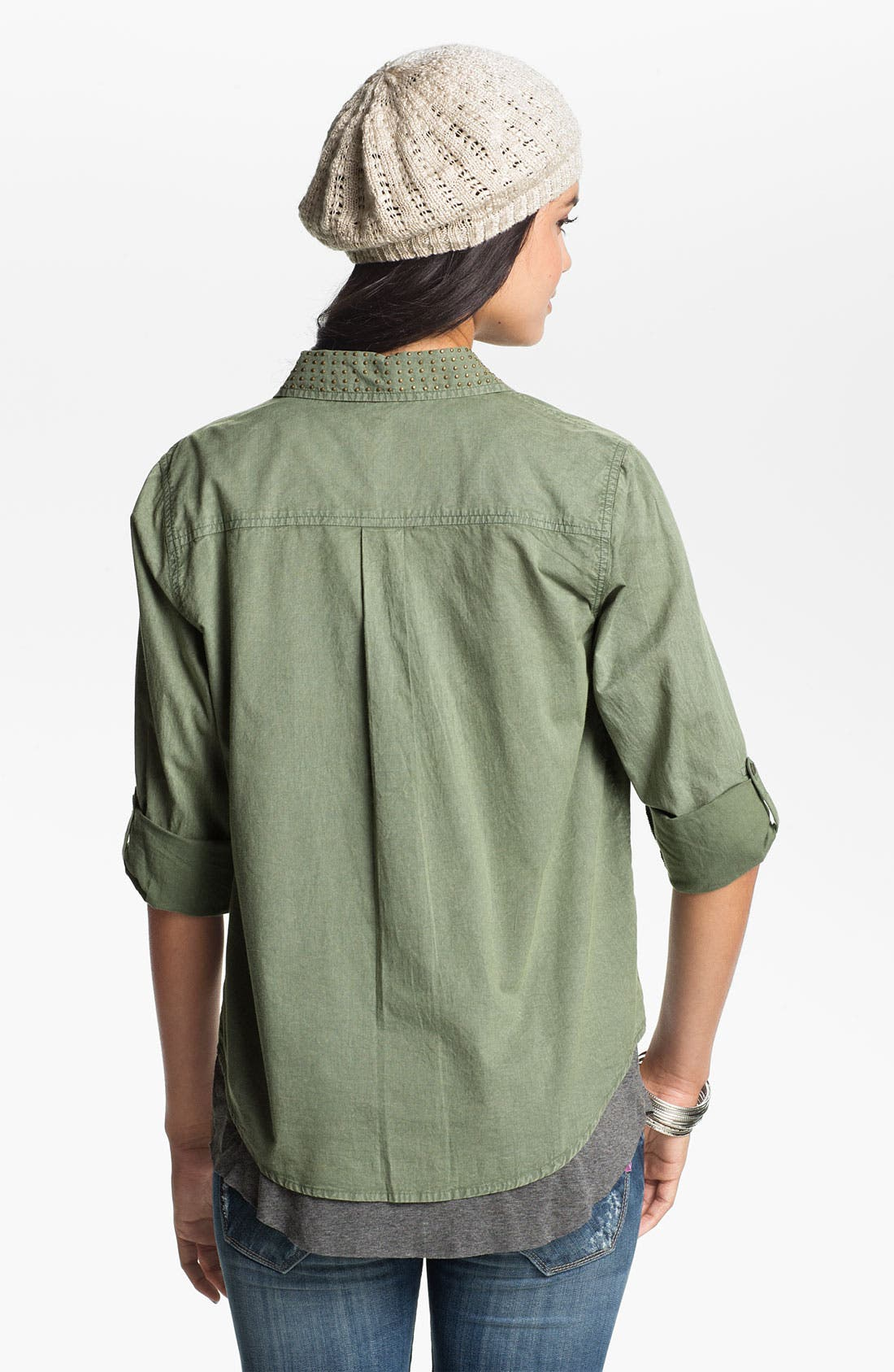 Alternate Image 2  - Fire Stud Collar Army Shirt (Juniors)