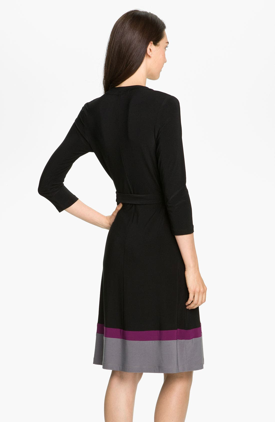 Alternate Image 2  - Alex & Ava Colorblock Jersey Wrap Dress (Petite)