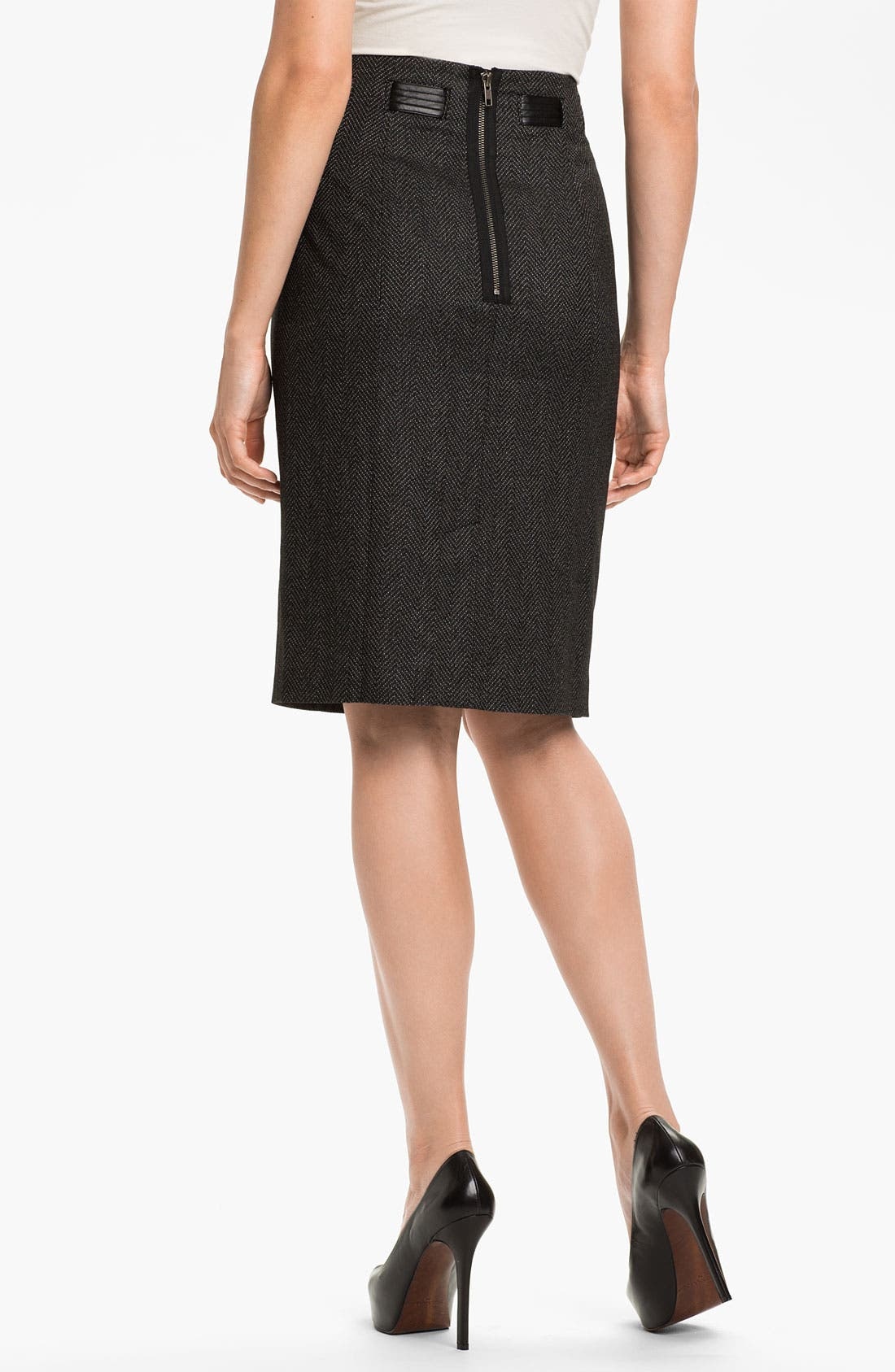 Alternate Image 2  - Halogen® Faux Leather Tie Pencil Skirt (Petite)