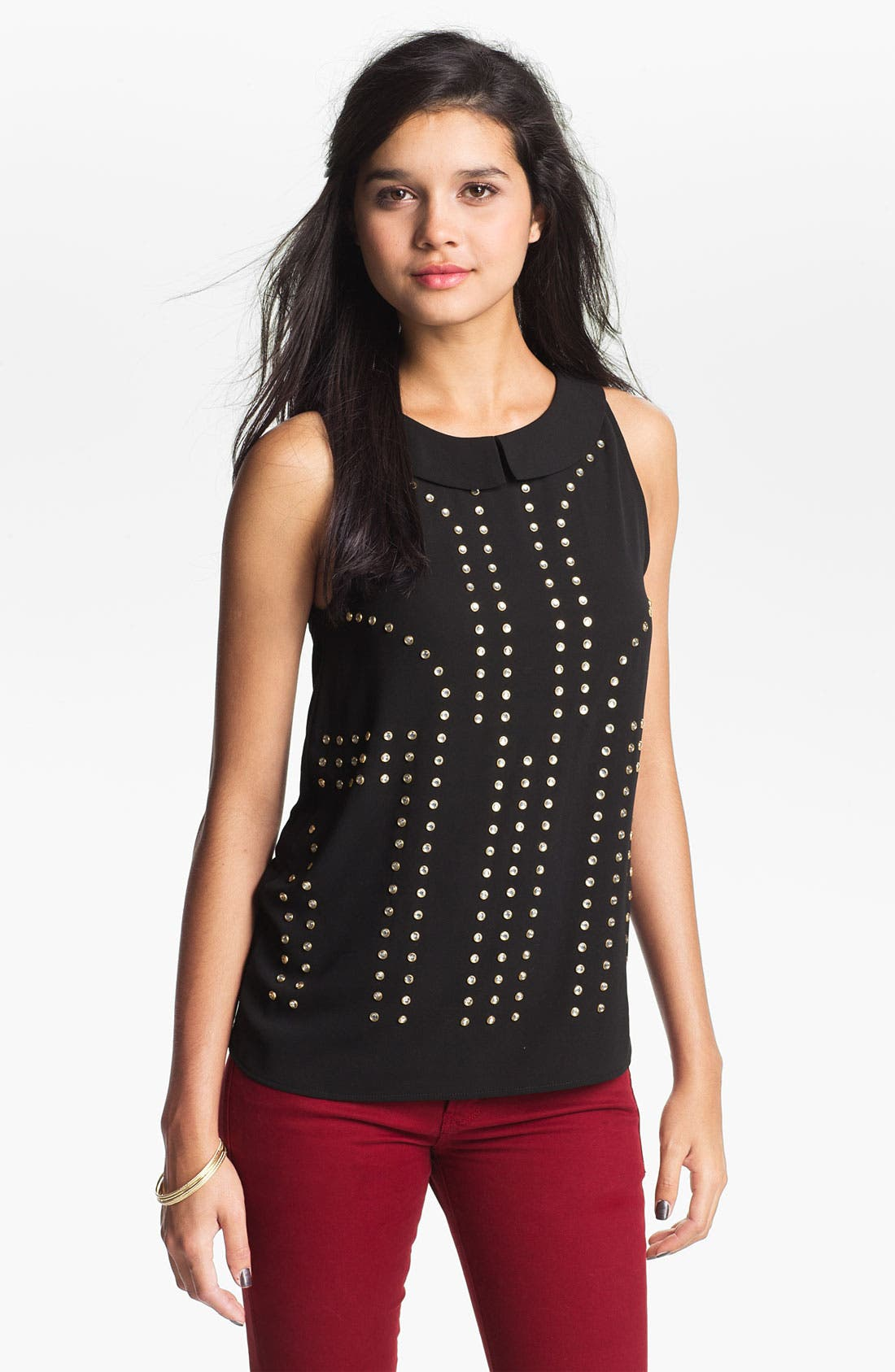 Main Image - Elodie Collared Rhinestone Stud Top (Juniors)