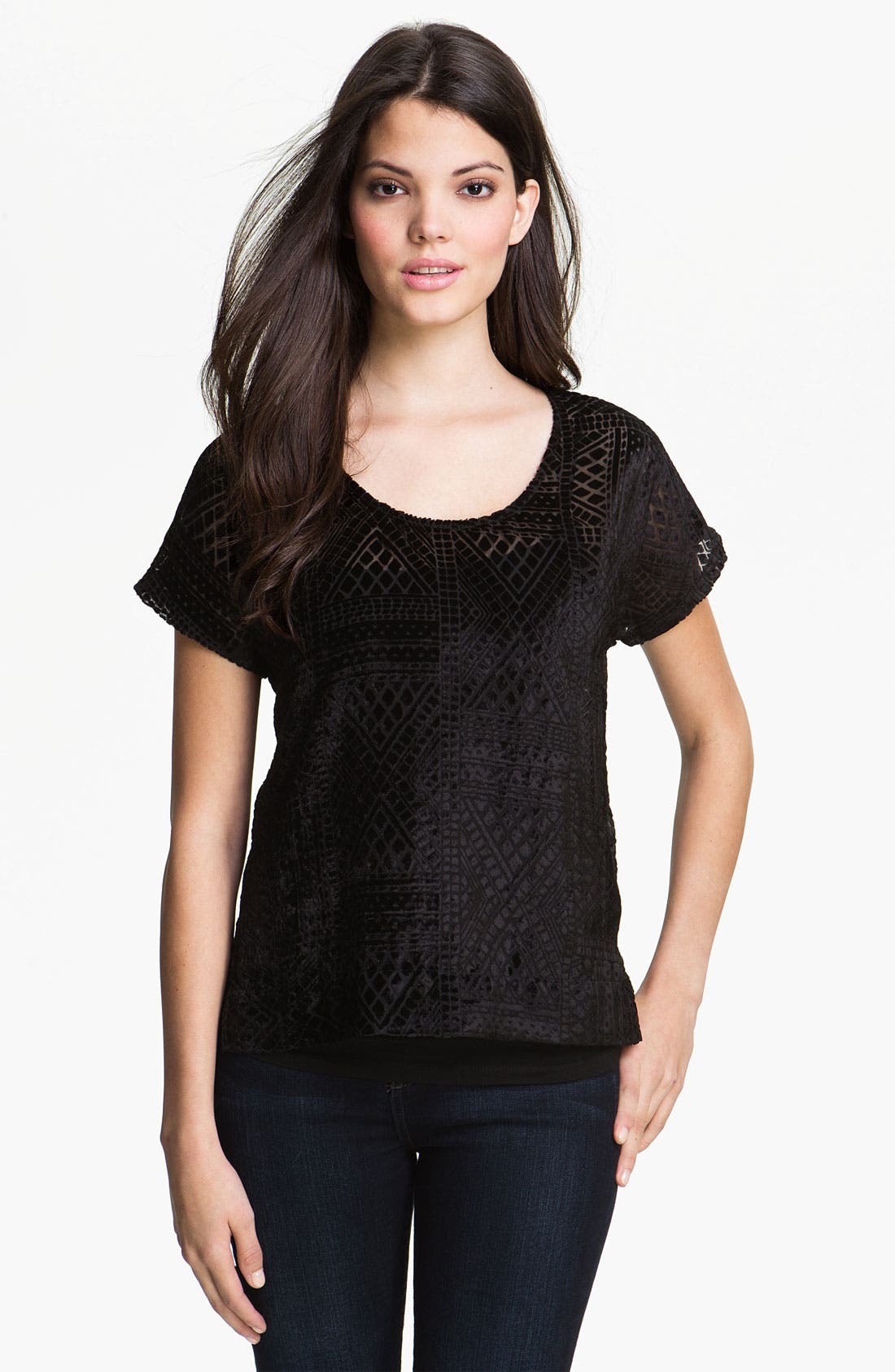 Main Image - Lucky Brand 'Gypset' Velvet Burnout Top