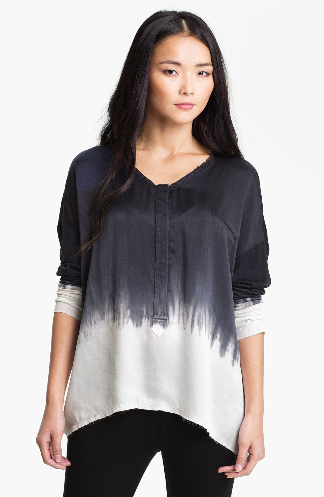 Main Image - Go by Go Silk 'Go Luxe' Dip Dye Silk Henley Top (Online Exclusive)