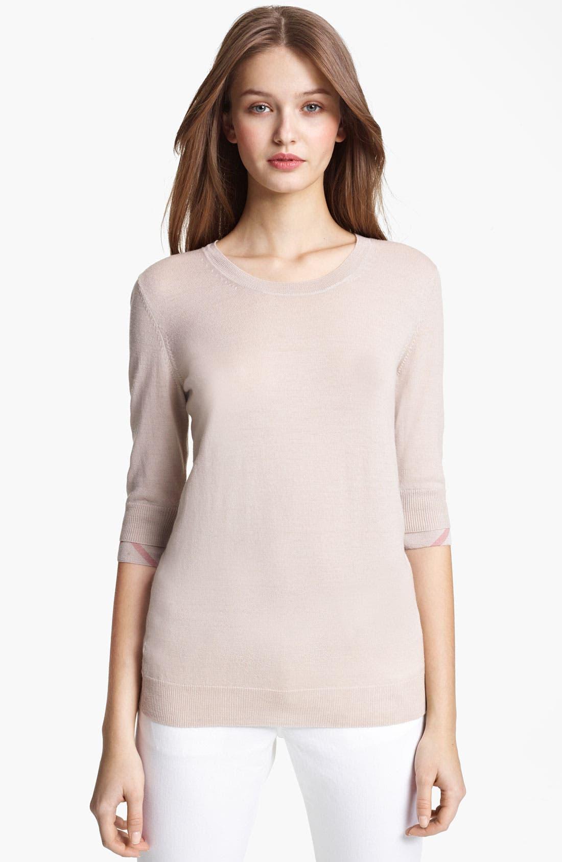 Alternate Image 1 Selected - Burberry Brit Check Cuff Merino Sweater