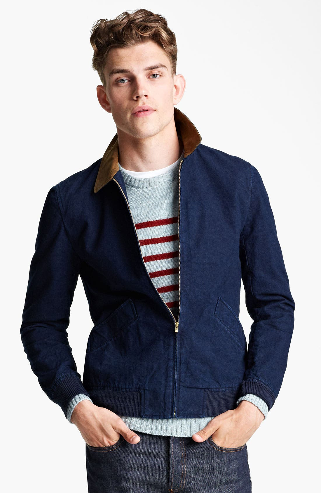 Alternate Image 1 Selected - A.P.C. Denim Bomber Jacket
