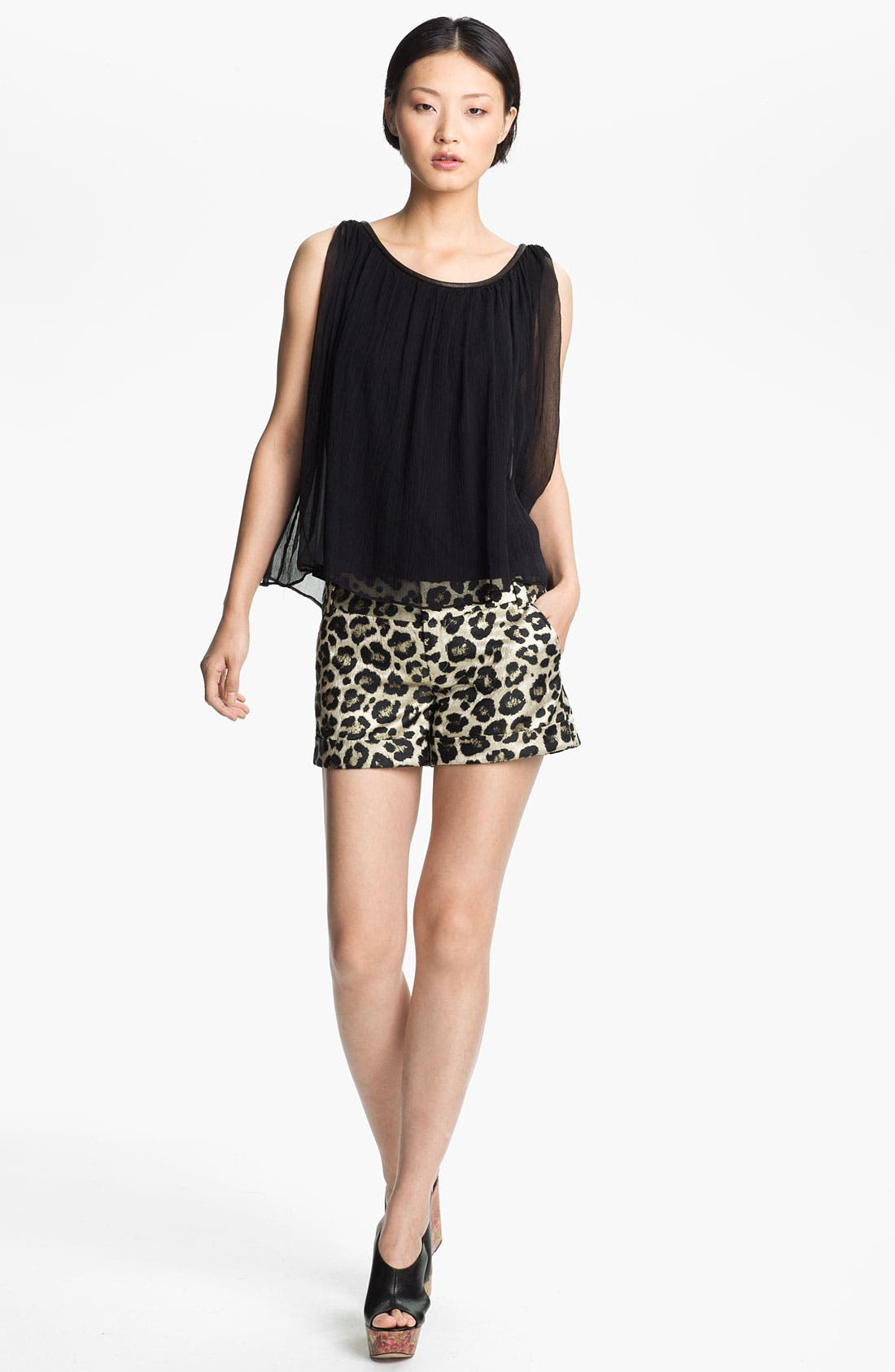 Alternate Image 1 Selected - Alice + Olivia Gathered Neck Washed Silk Tank