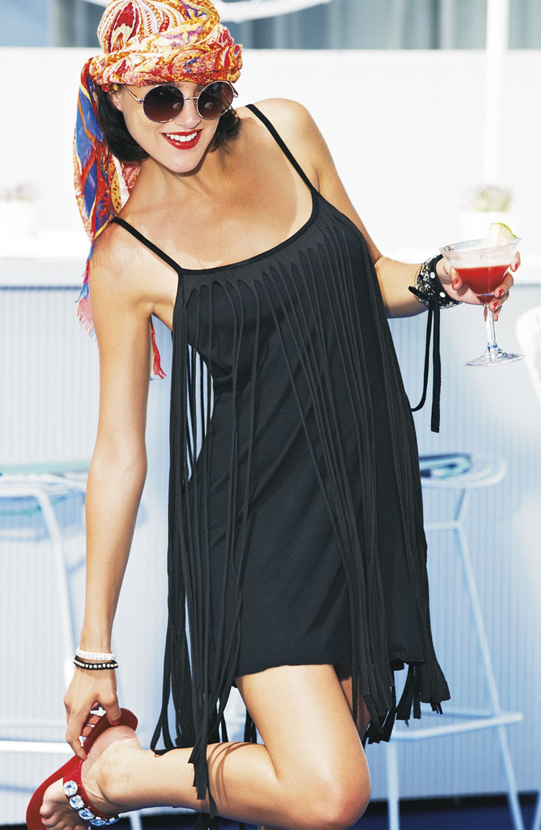 Alternate Image 5  - Badgley Mischka Fringed Cover-Up Dress