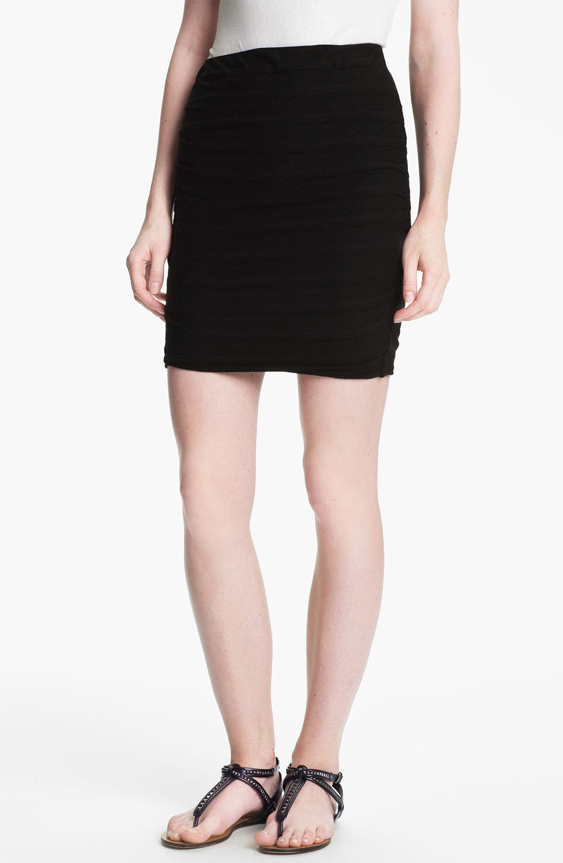 Shadow Stripe Ruched Miniskirt,                         Main,                         color, Black