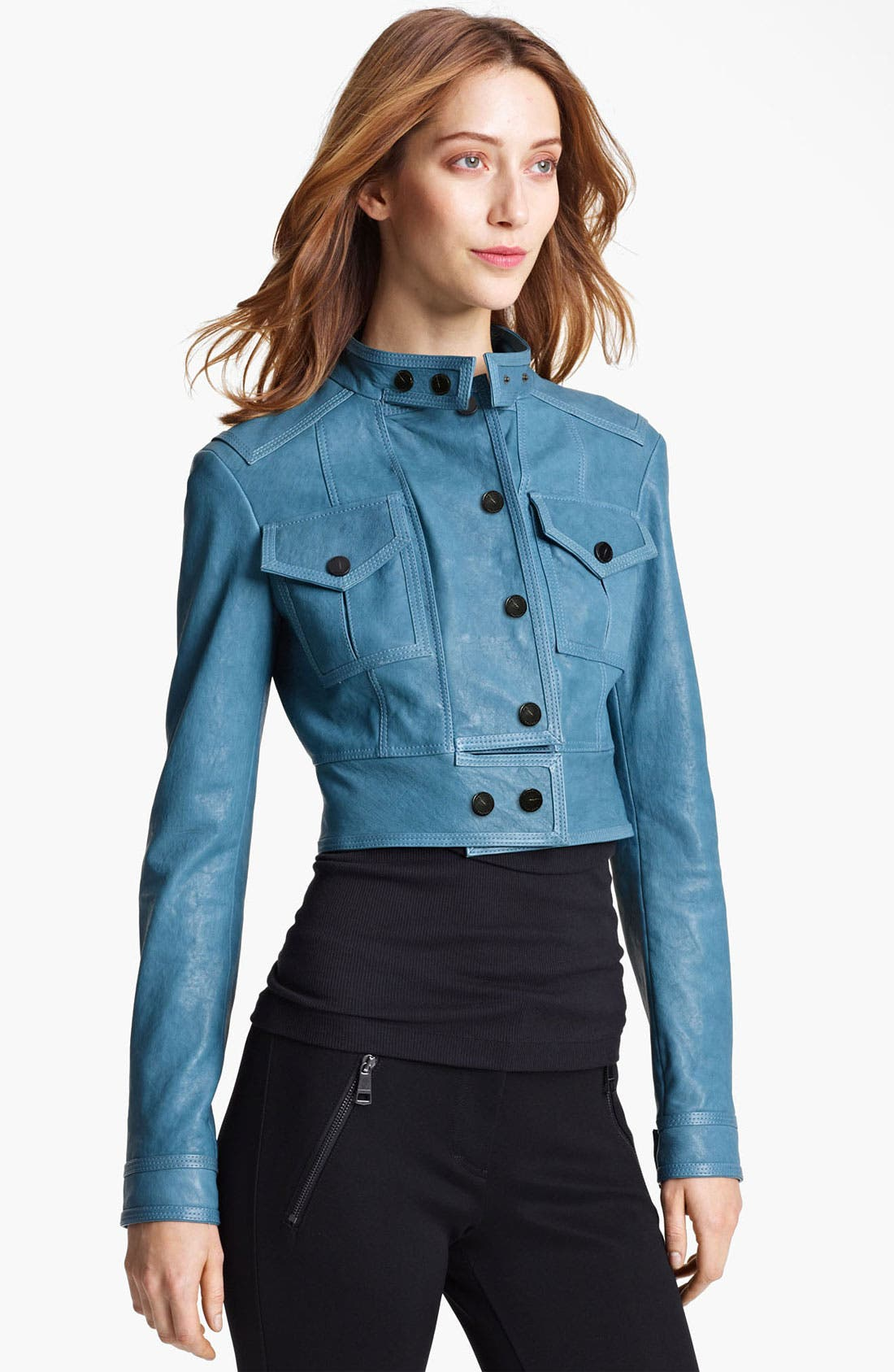 Alternate Image 1 Selected - Burberry London Cargo Pocket Crop Leather Jacket