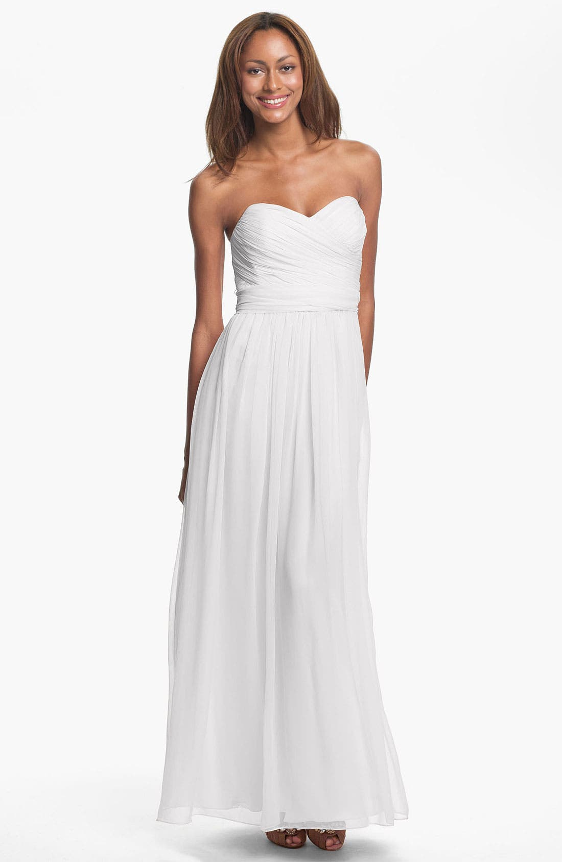 Alternate Image 1 Selected - Jill Jill Stuart Strapless Ruched Chiffon Sweetheart Gown