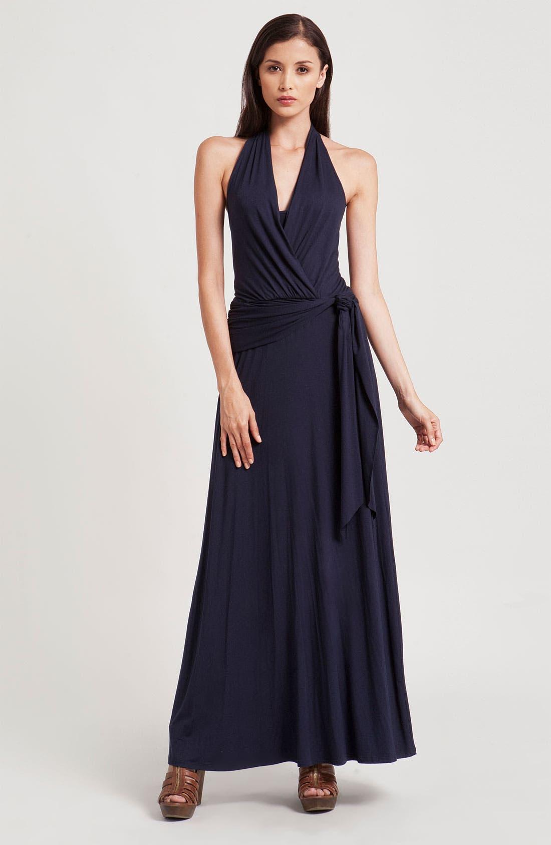 Main Image - Three Dots Faux Wrap Halter Maxi Dress