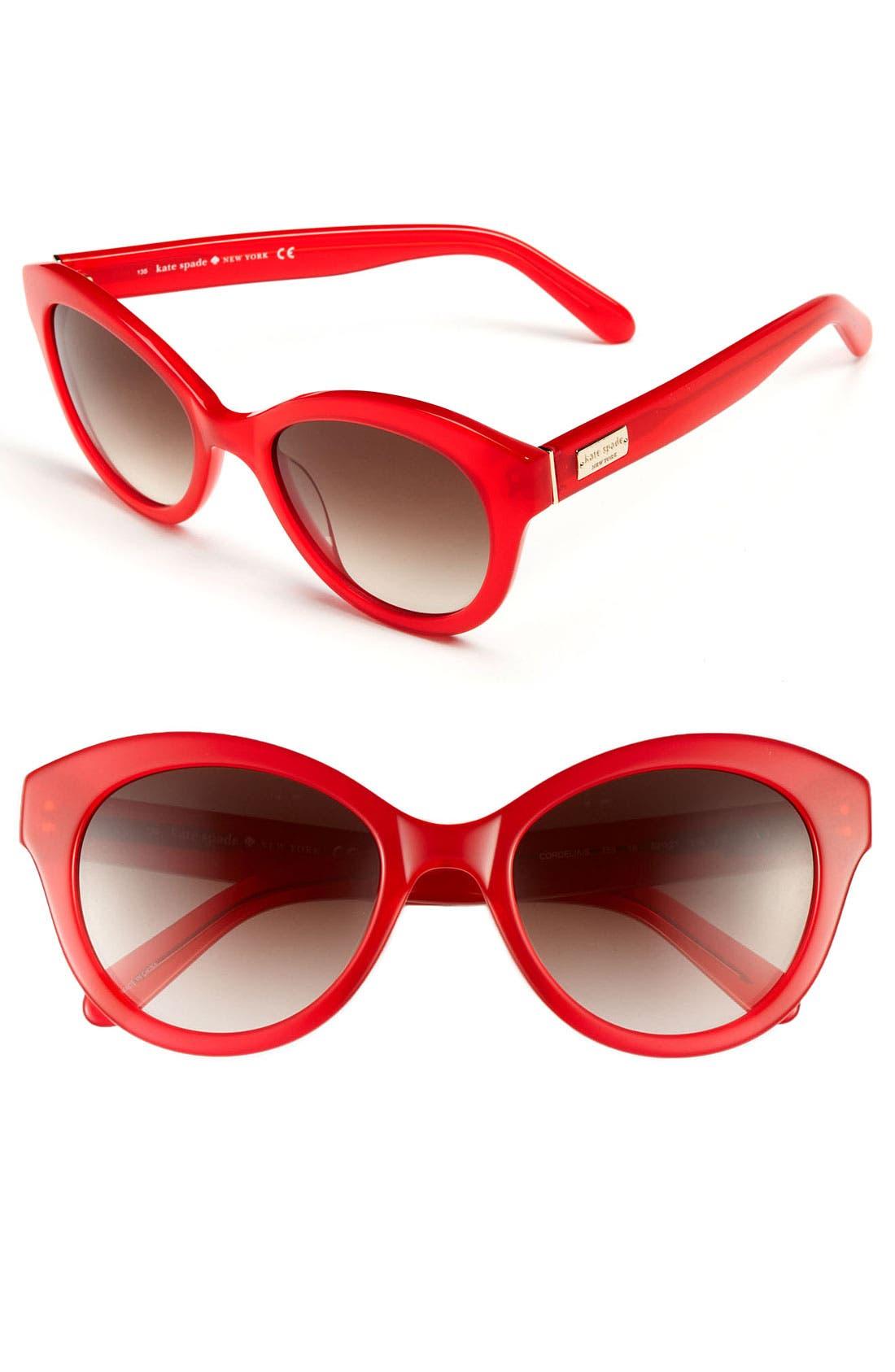 'cordelia' 52mm retro sunglasses,                         Main,                         color, Red