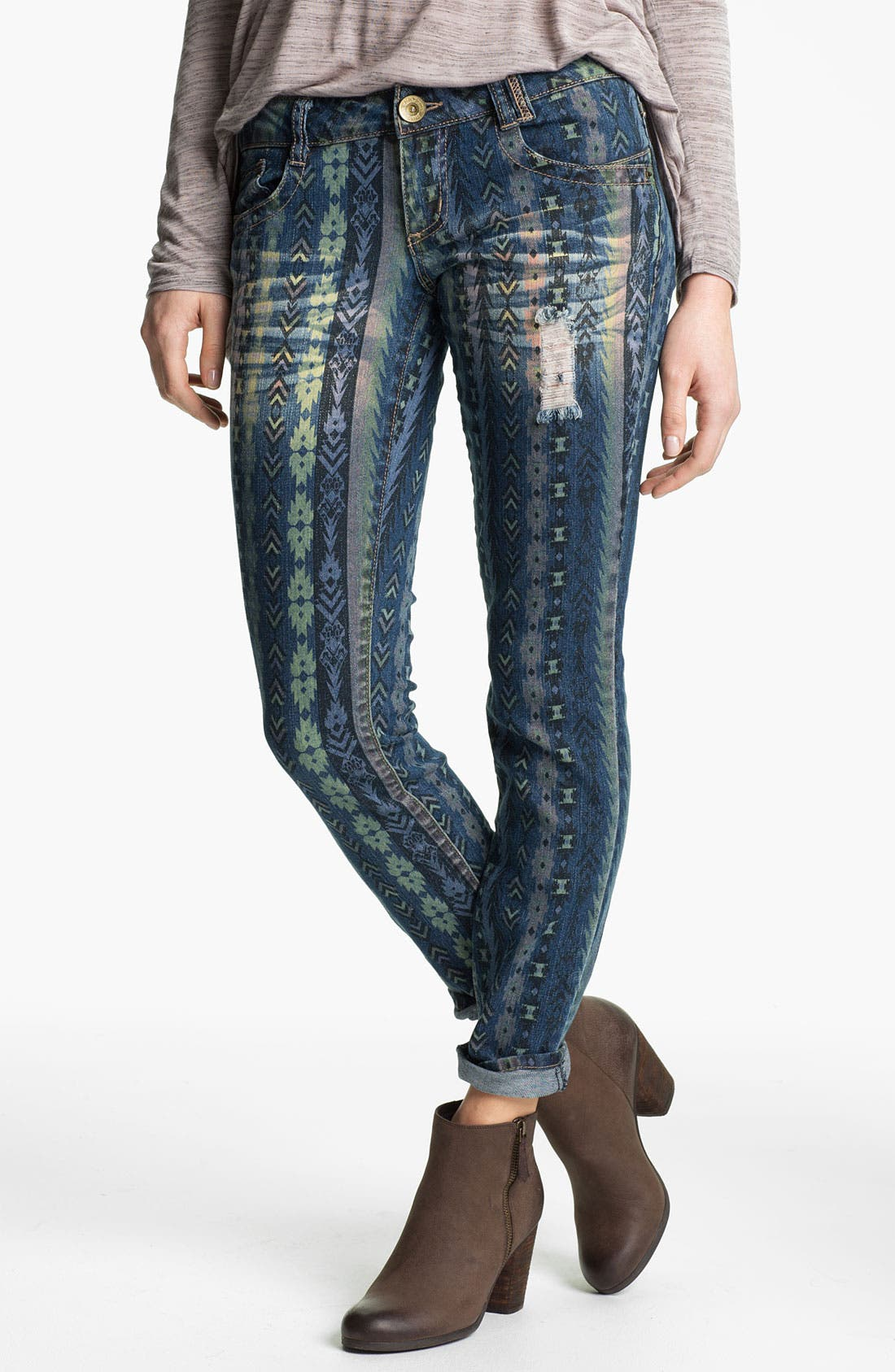 Main Image - Jolt Destroyed Print Denim Skinny Jeans (Juniors)