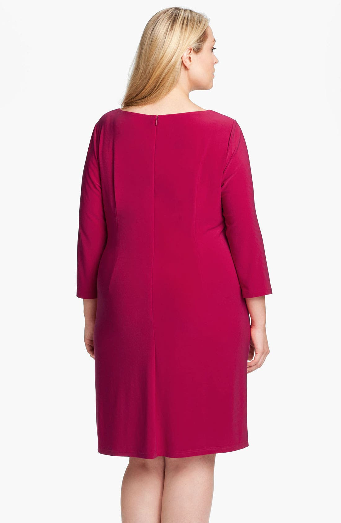 Alternate Image 2  - Adrianna Papell Asymmetrically Ruched Jersey Dress (Plus Size)