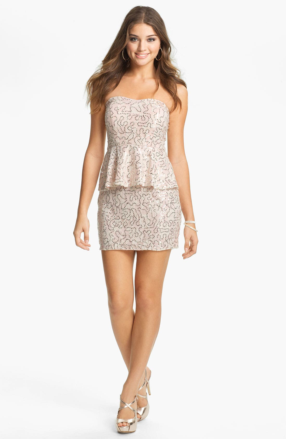 Alternate Image 1 Selected - As U Wish Embellished Lace Body-Con Dress (Juniors) (Online Exclusive)