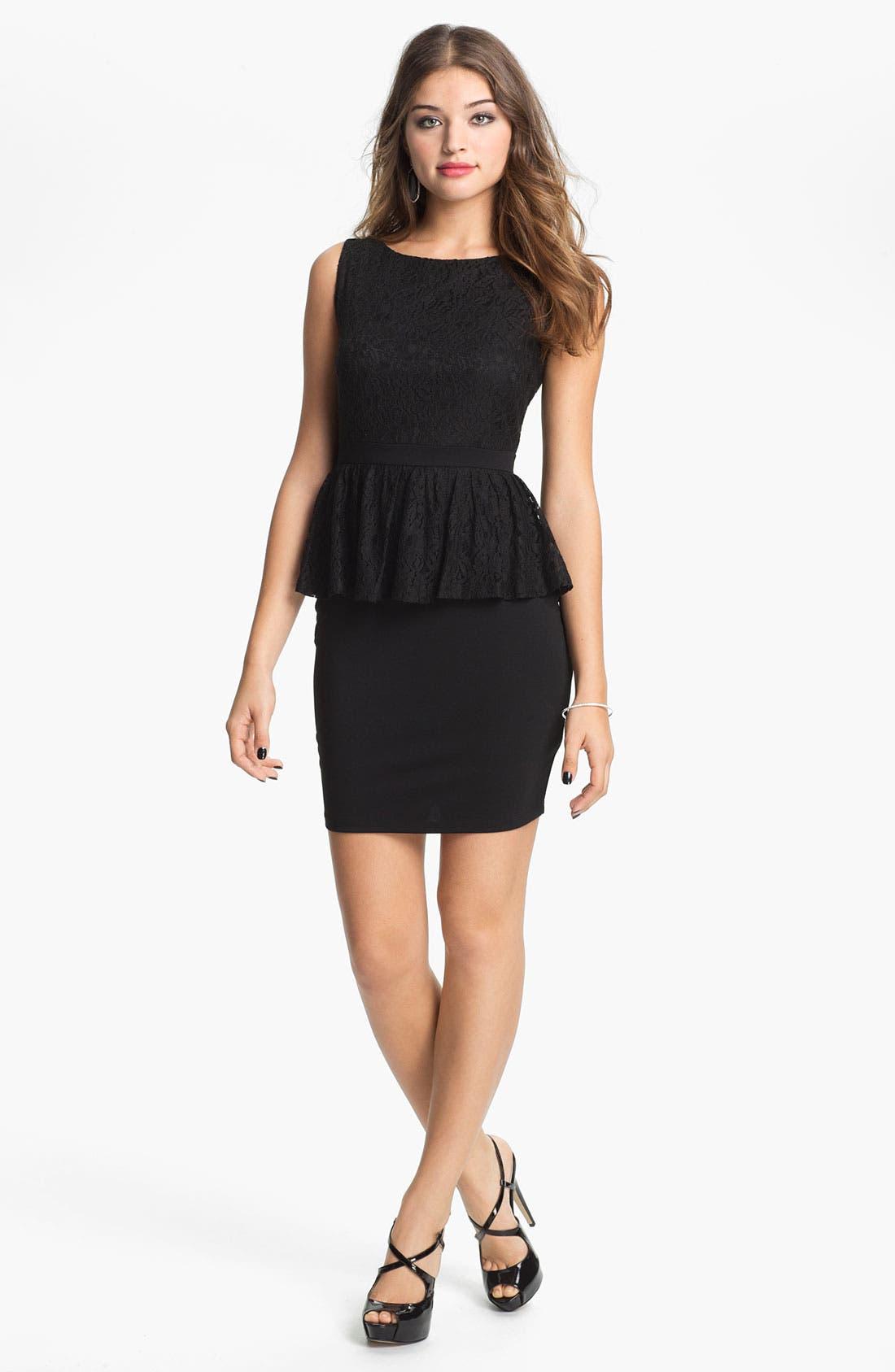 Main Image - Soprano Peplum Body-Con Dress (Juniors)