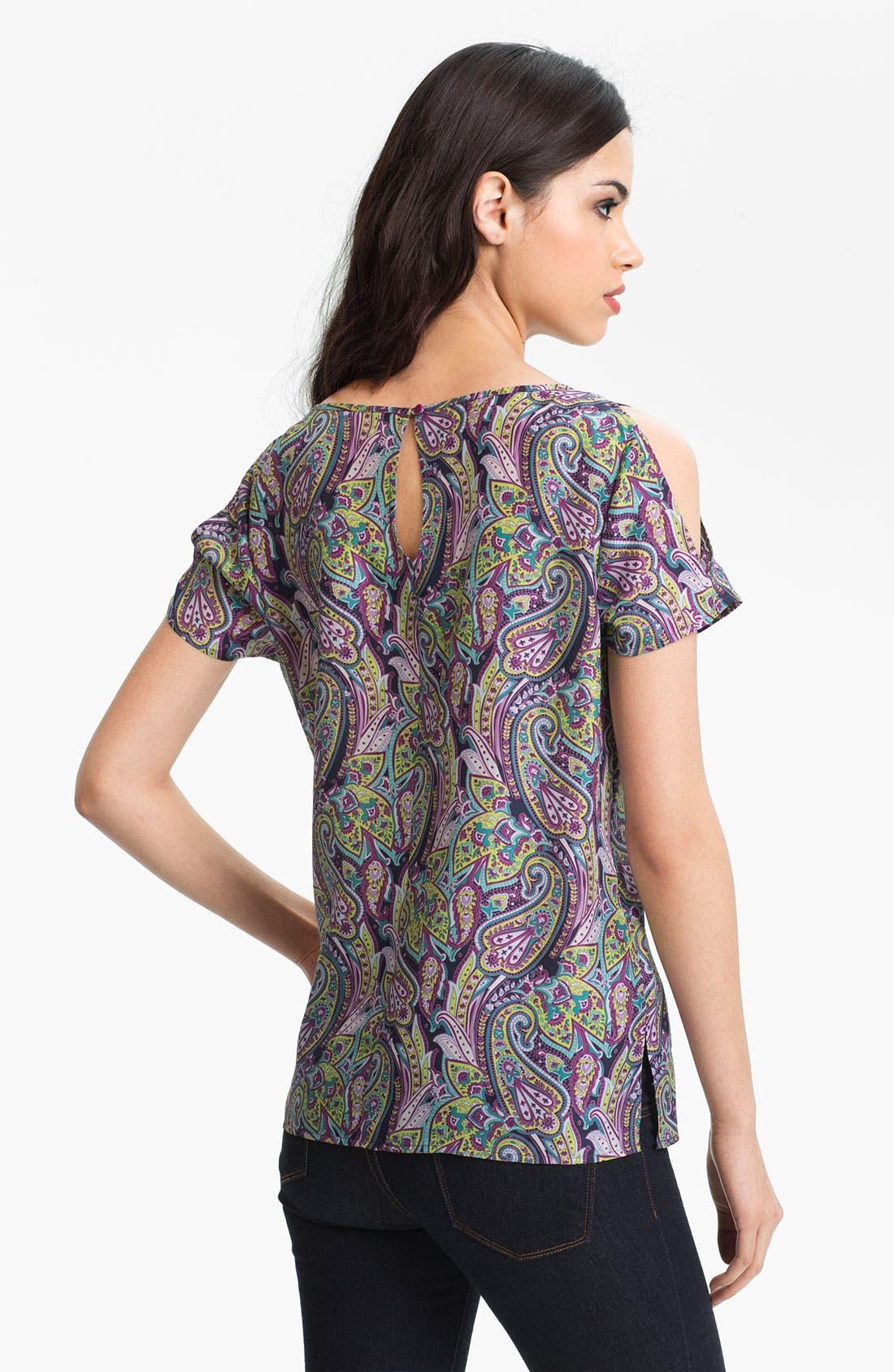 Alternate Image 2  - Hinge® Split Shoulder Paisley Silk Top