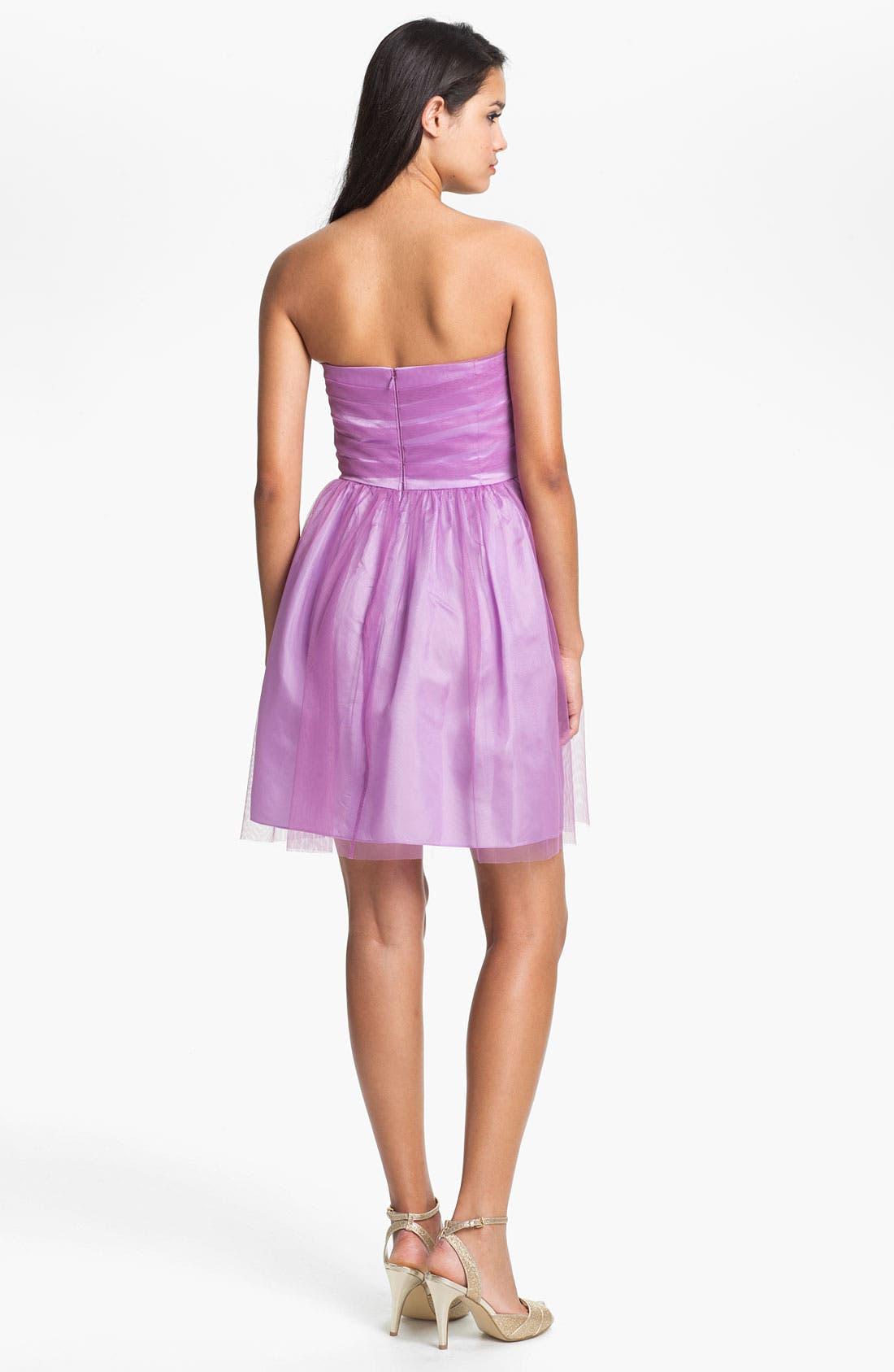Alternate Image 2  - Donna Morgan 'Kaylin' Strapless Tulle Overlay Fit & Flare Dress