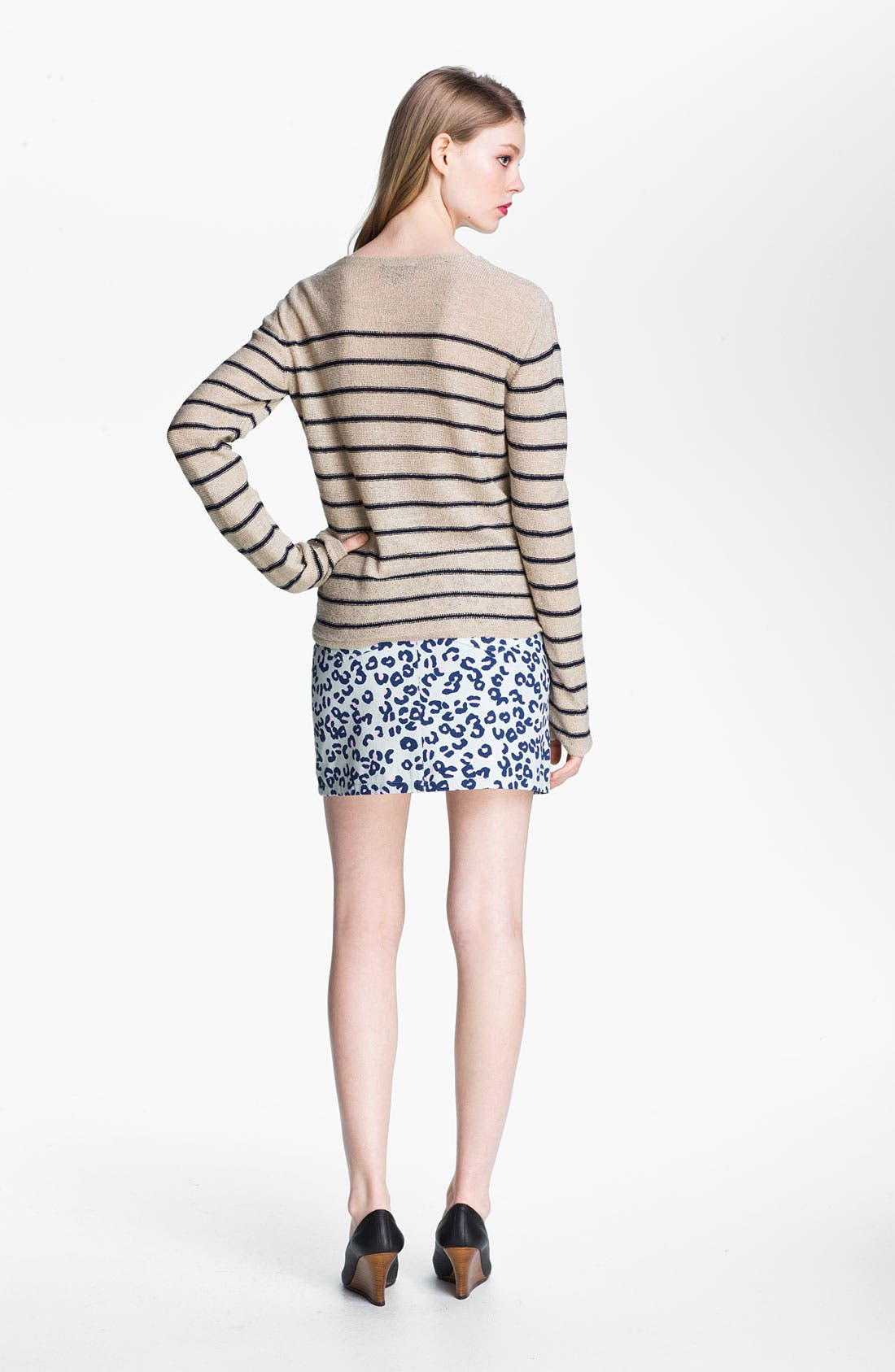 Alternate Image 3  - A.P.C. Leopard Print Denim Miniskirt