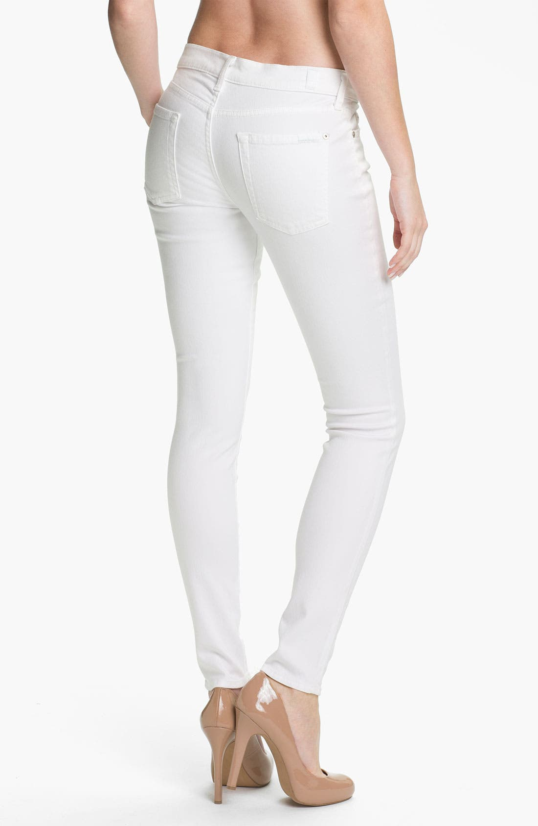 Alternate Image 2  - 7 For All Mankind® 'Slim Illusion' Overdyed Skinny Stretch Jeans (Stark White)