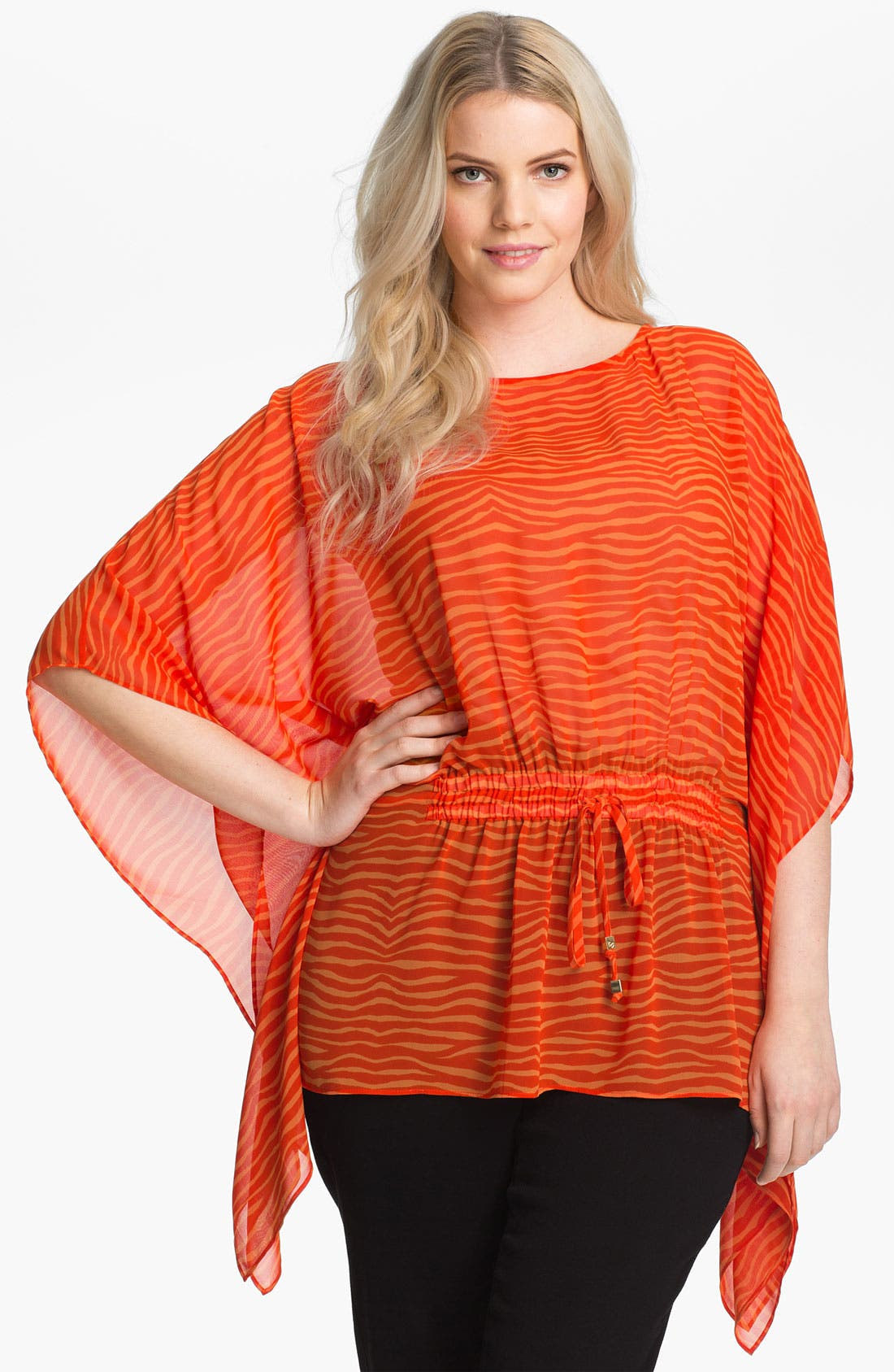 Alternate Image 1 Selected - MICHAEL Michael Kors Print Flutter Sleeve Tunic (Plus)