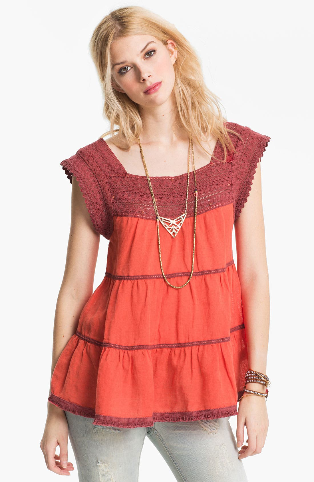 Main Image - Free People 'Rainforest' Crochet Yoke Top