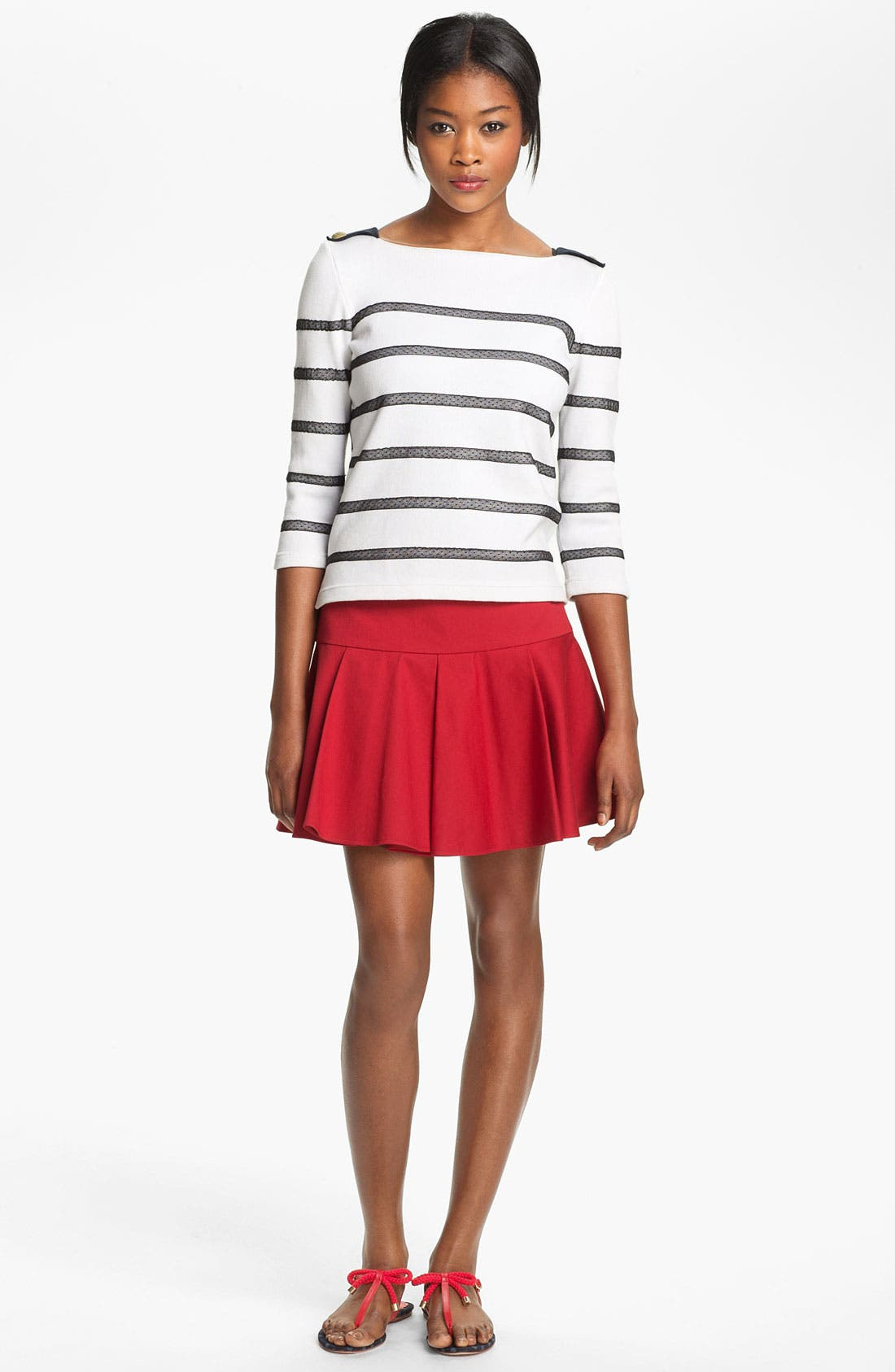 Alternate Image 1 Selected - RED Valentino Point d'Esprit Stripe Top