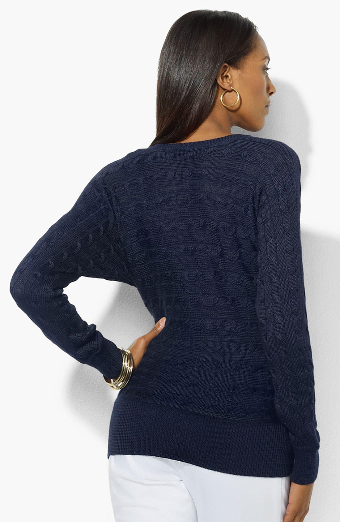 Alternate Image 2  - Lauren Ralph Lauren Dolman Sleeve V-Neck Sweater