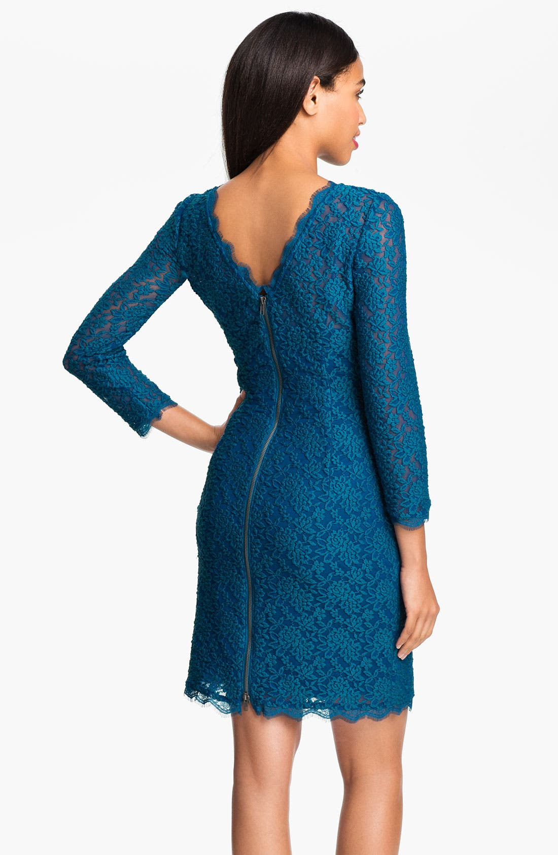 Alternate Image 2  - Adrianna Papell V-Back Lace Sheath Dress (Petite)