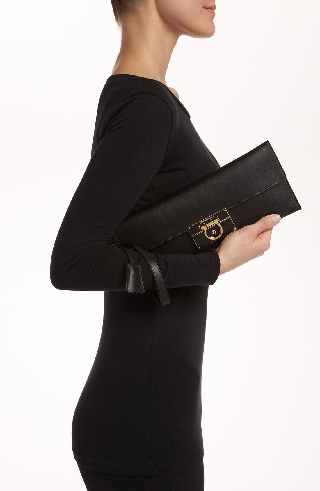 Alternate Image 2  - Salvatore Ferragamo 'Afef' Leather Envelope Clutch