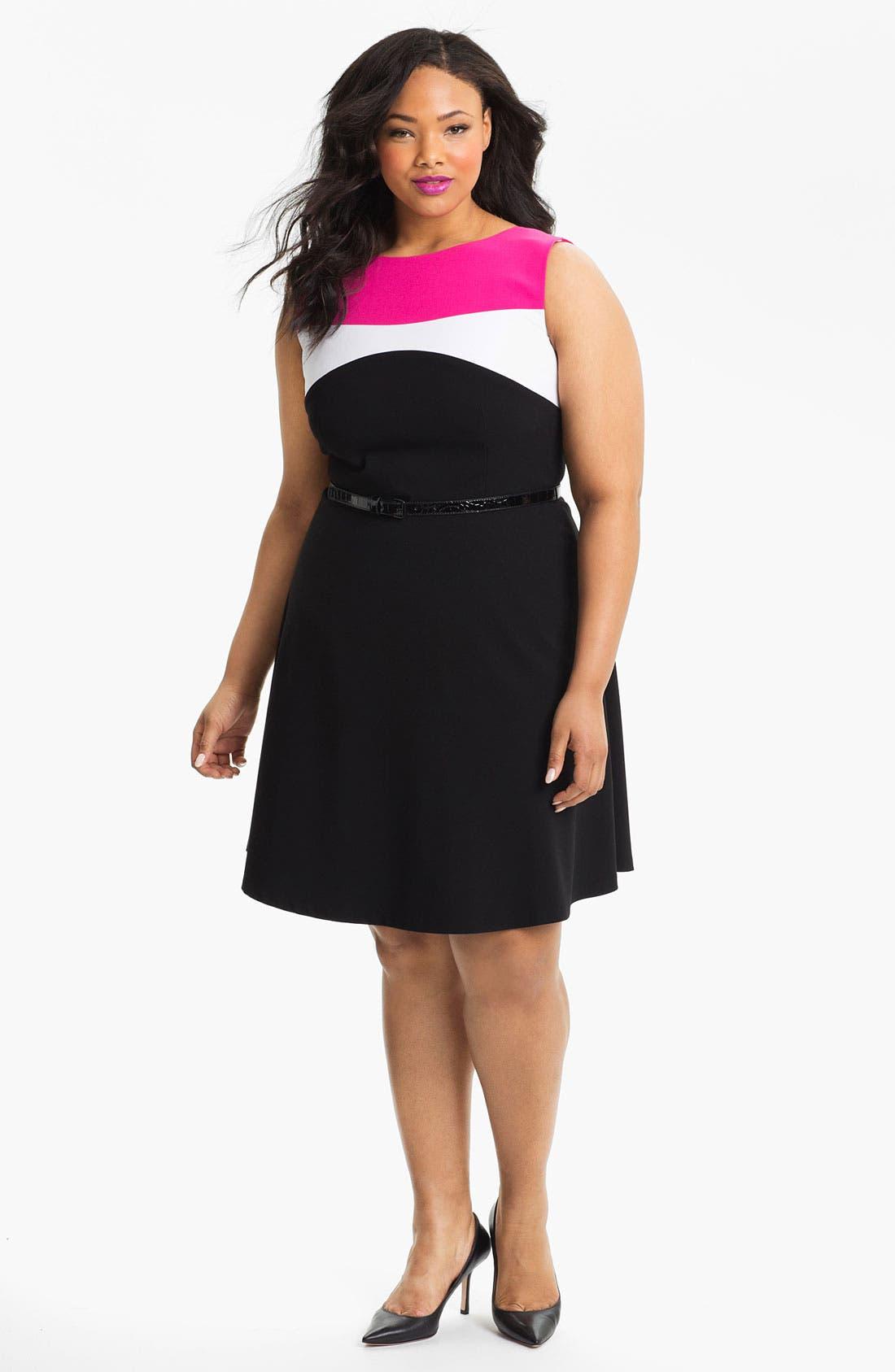 Main Image - Calvin Klein Colorblock Fit & Flare Dress (Plus Size)