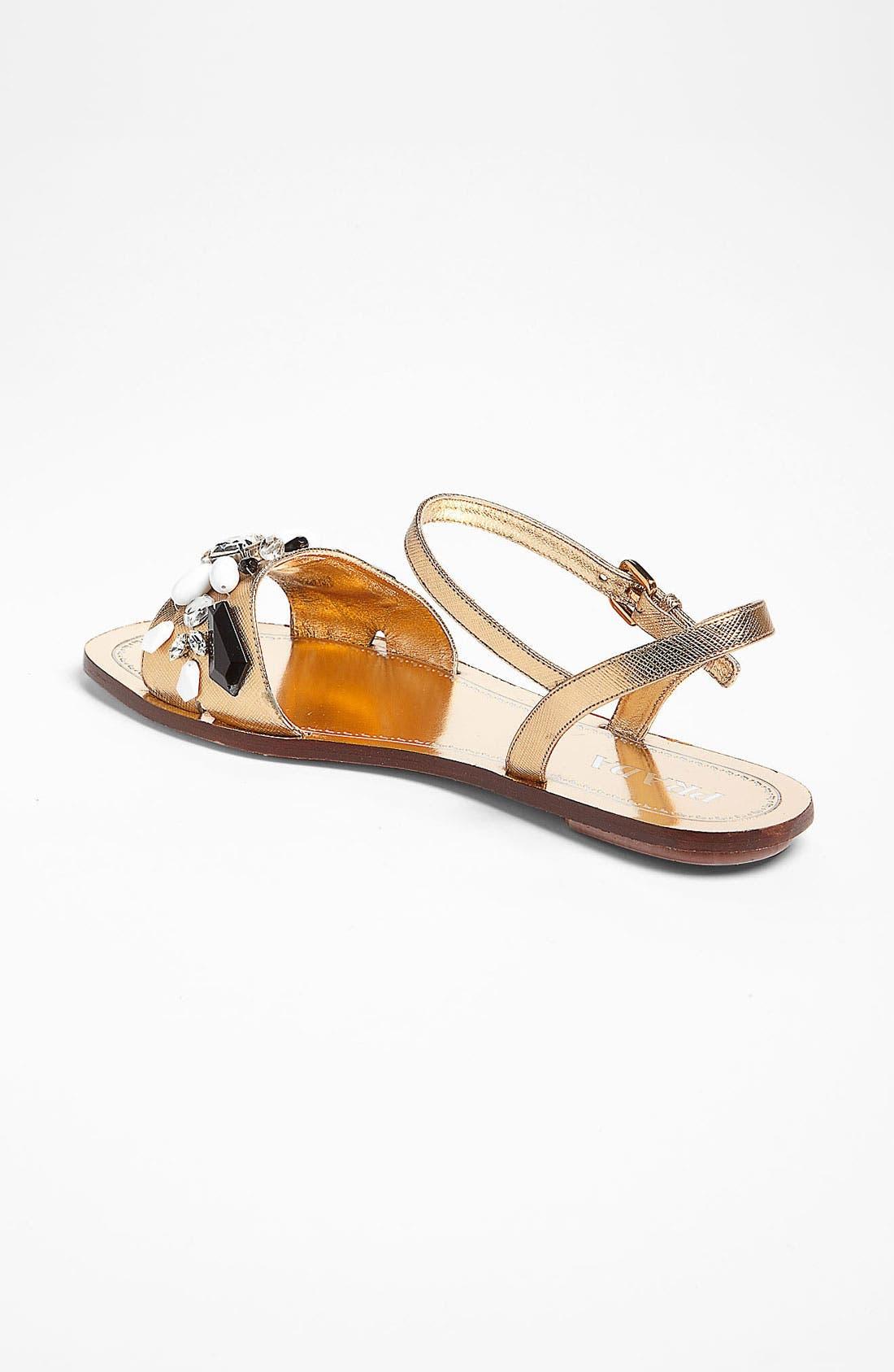 Alternate Image 2  - Prada Beaded Strap Flat Sandal