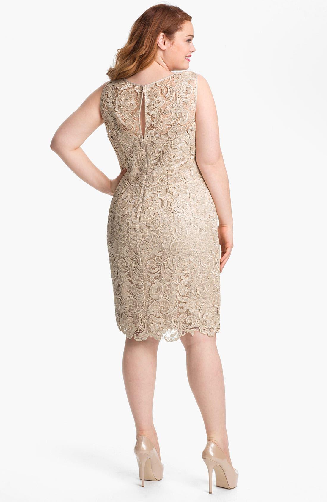 Alternate Image 2  - Adrianna Papell Sleeveless Lace Dress (Plus Size)