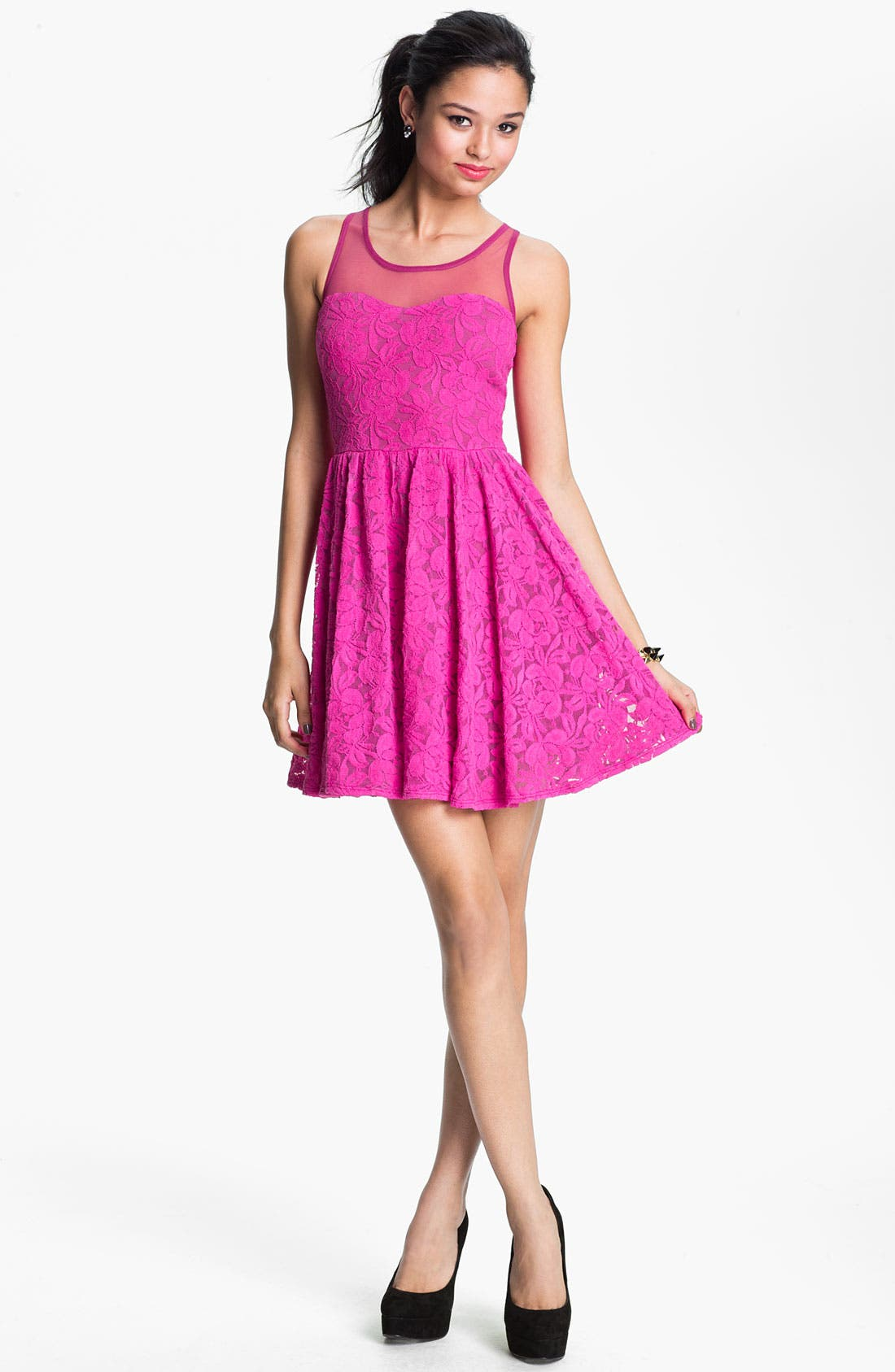 Main Image - Fire Lace Skater Dress (Juniors)