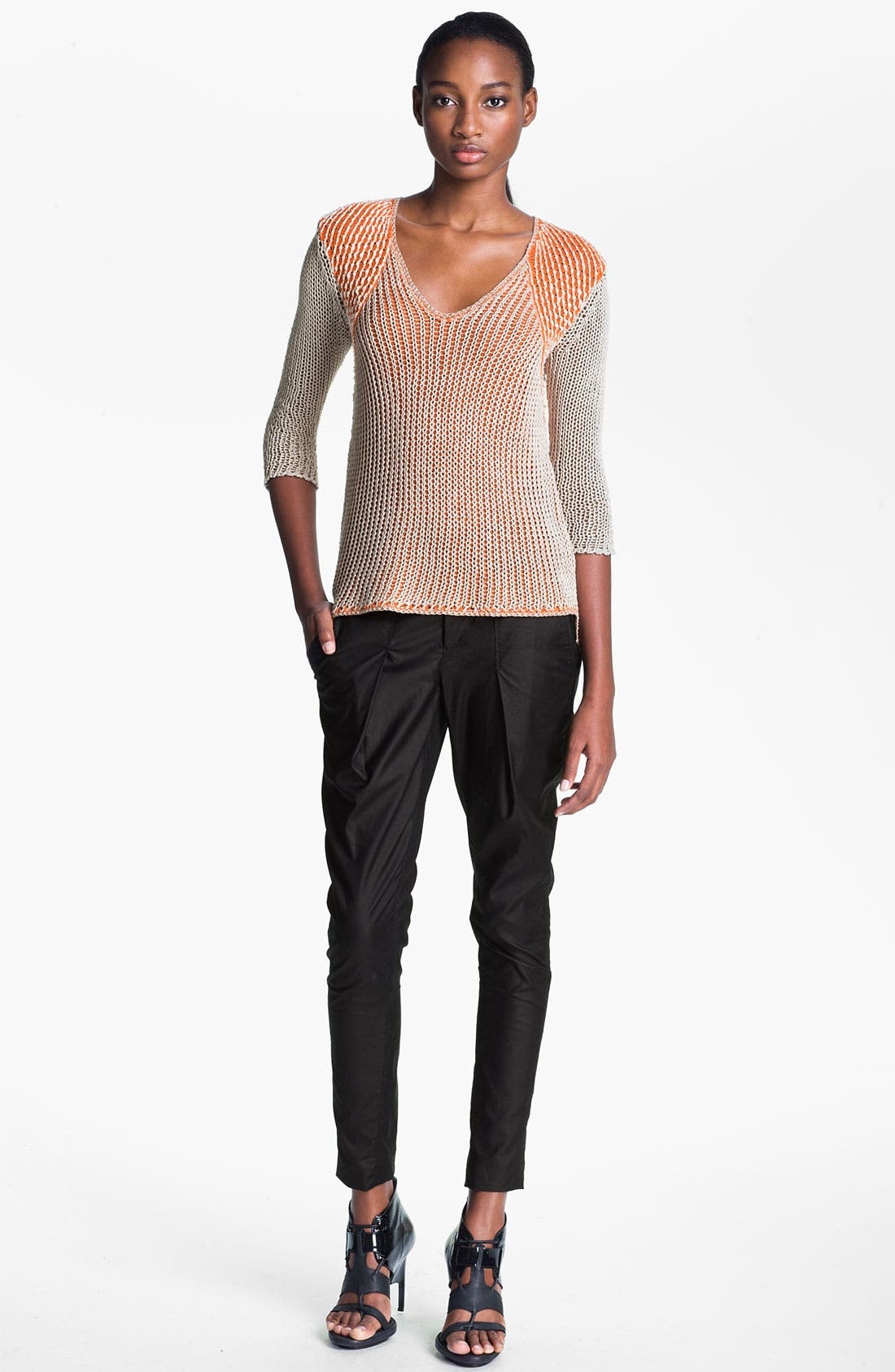 Alternate Image 7  - Helmut Lang 'Rift' Stretch Leather Crop Leggings