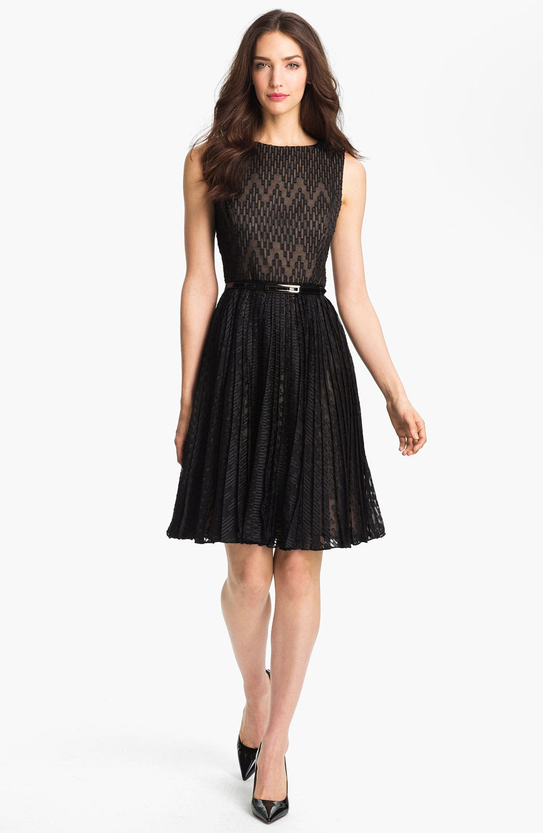 Main Image - Adrianna Papell Textured Fit & Flare Dress (Regular & Petite)