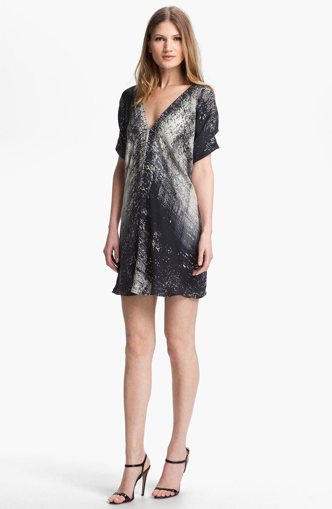 Print Silk Shift Dress,                         Main,                         color, Black