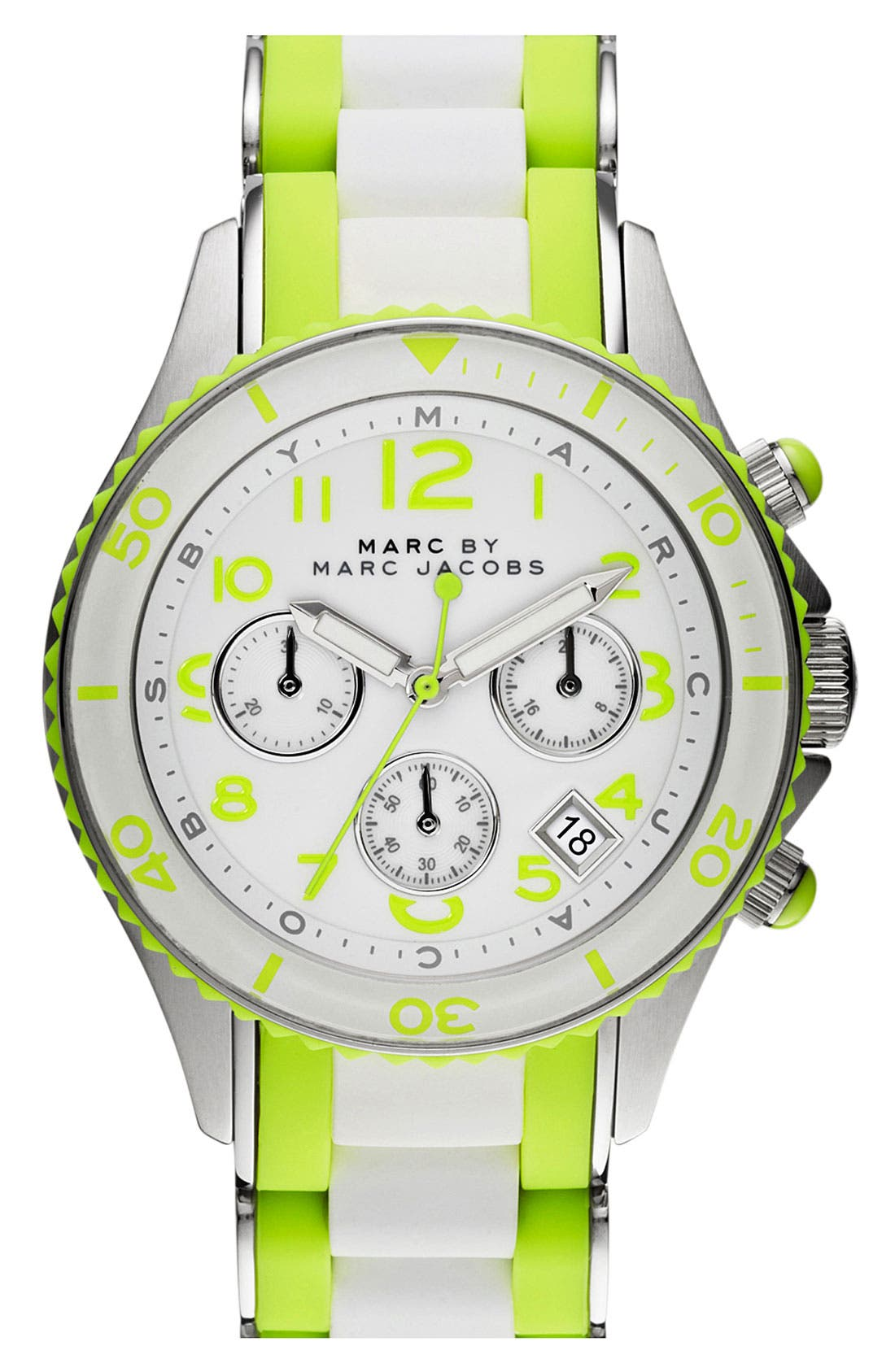 Alternate Image 1 Selected - MARC BY MARC JACOBS 'Rock' Chronograph Silicone Bracelet Watch