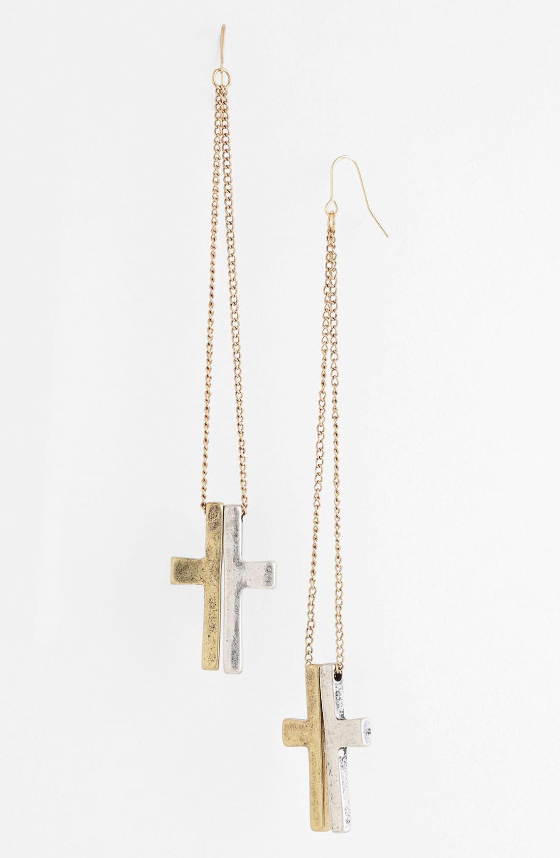 Main Image - Guinevere Two Tone Cross Earrings