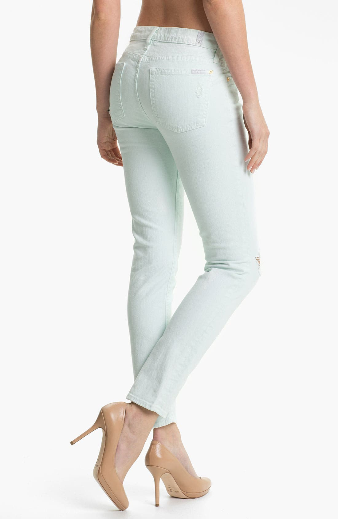 Alternate Image 2  - 7 For All Mankind® 'The Slim Cigarette' Stretch Jeans (Aqua Destroyed)