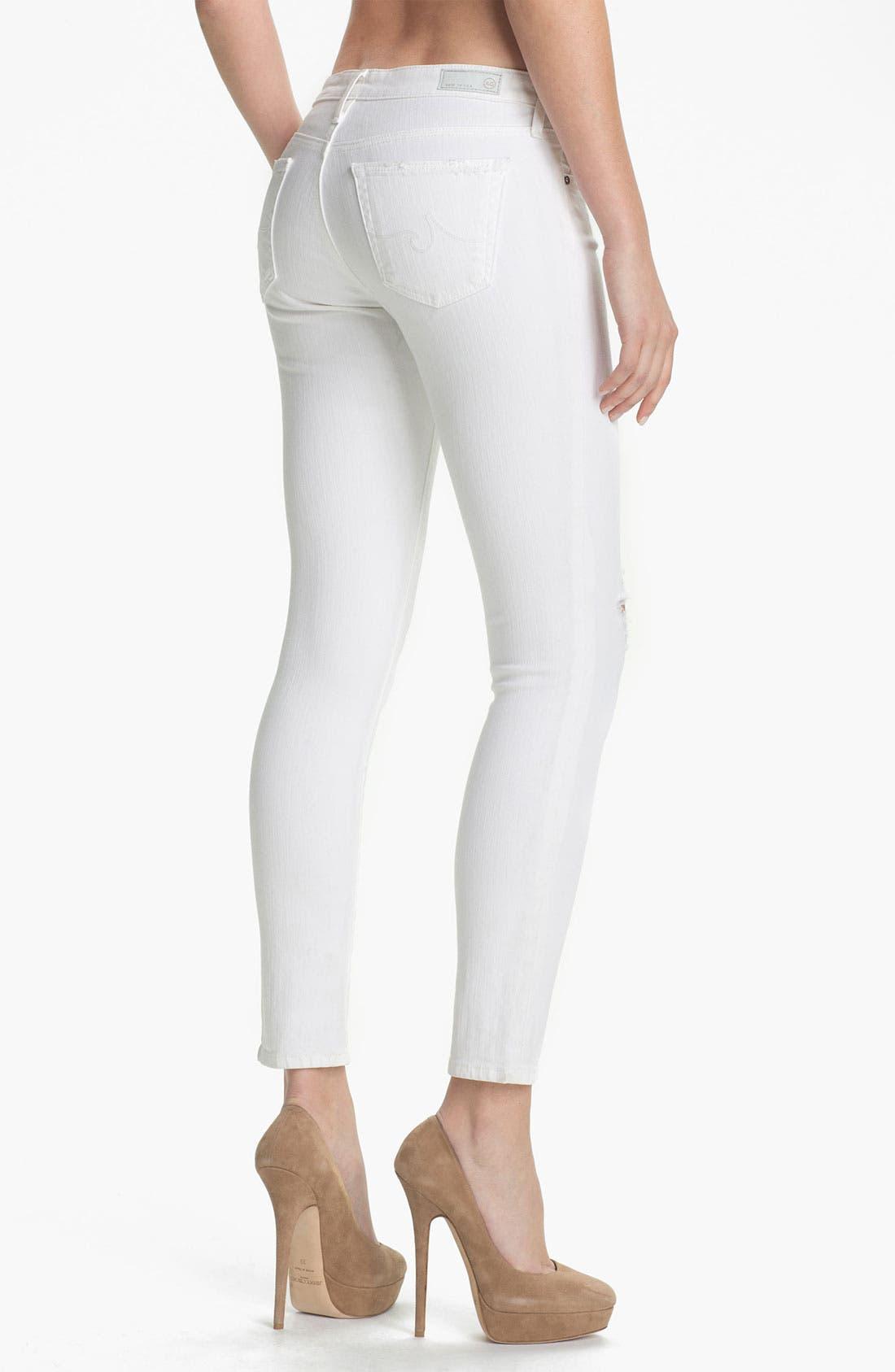 Alternate Image 2  - AG Jeans Skinny Ankle Jeans (White Thrasher)