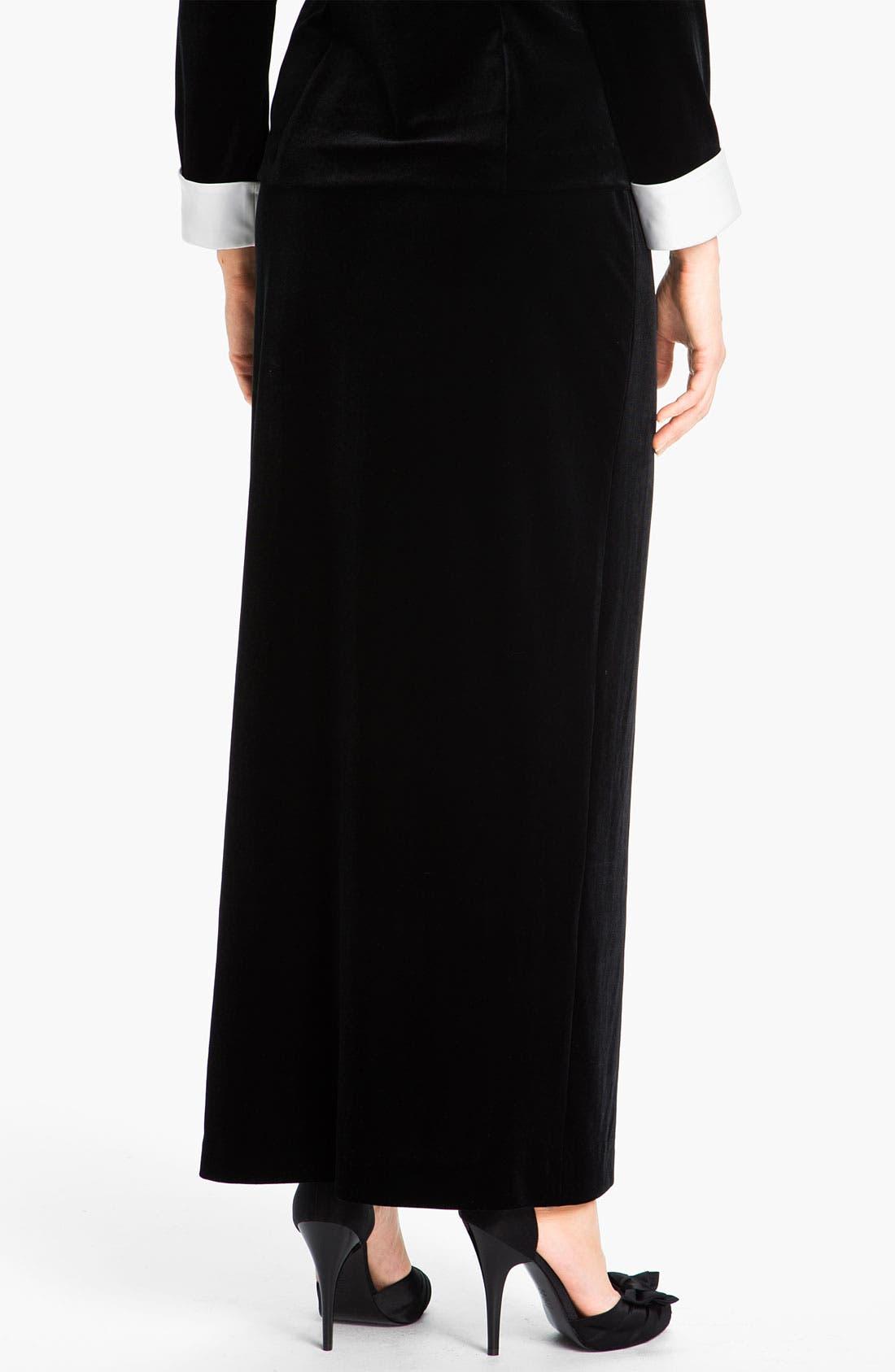 Alternate Image 2  - Alex Evenings Side Slit Velvet Skirt (Petite)