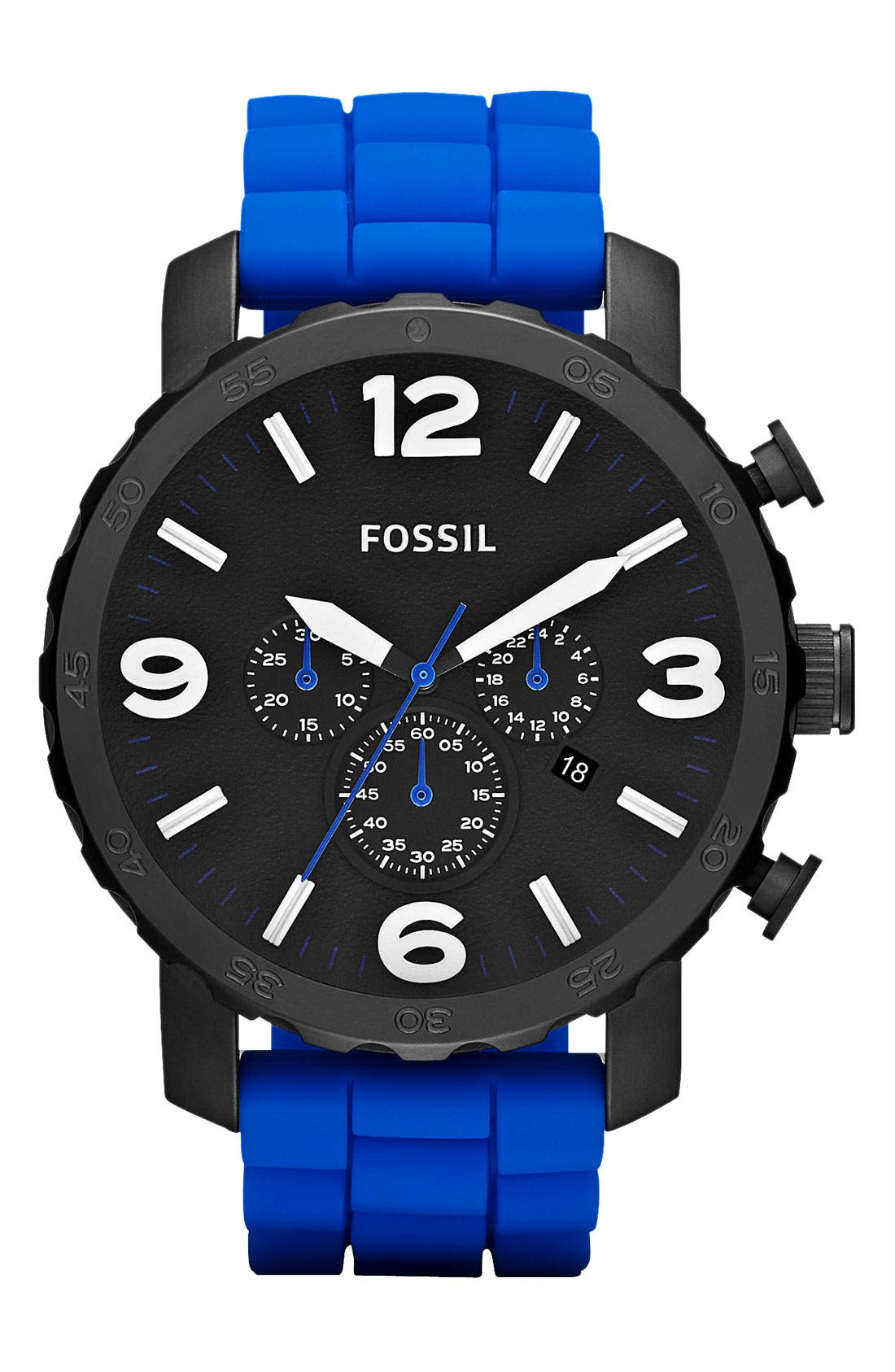 Main Image - Fossil 'Nate' Silicone Strap Watch, 45mm