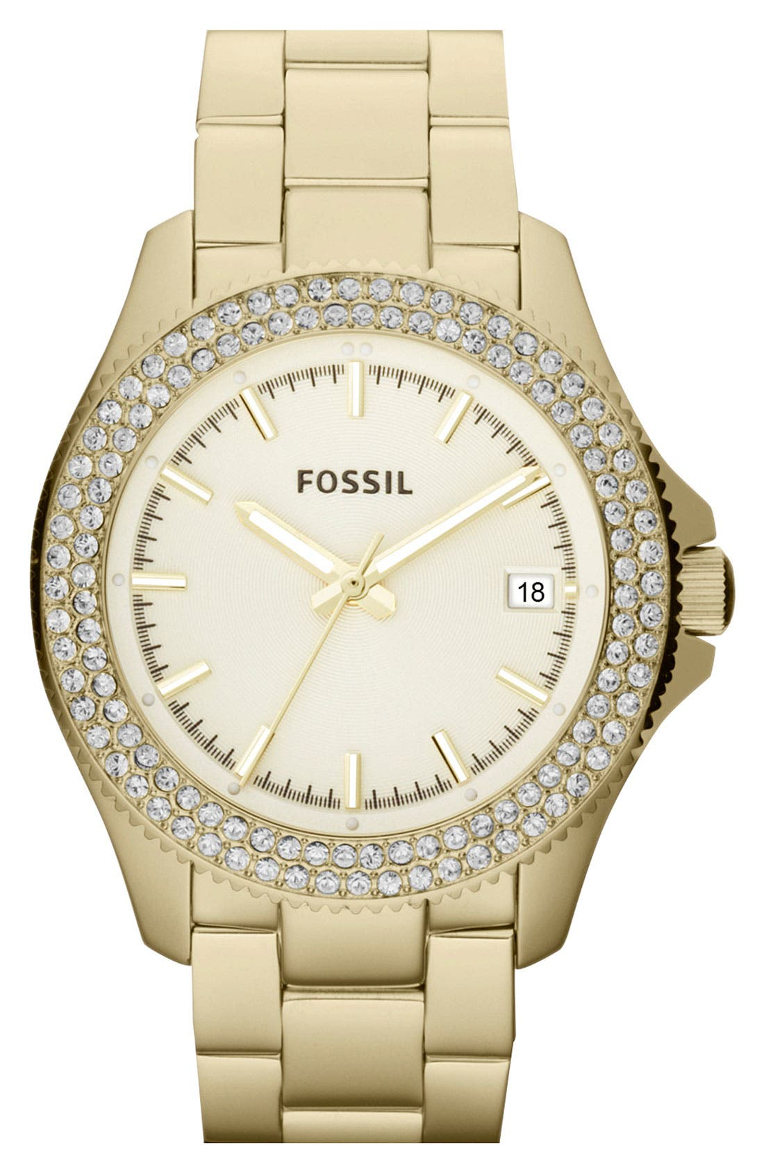 Main Image - Fossil Round Crystal Bezel Bracelet Watch, 36mm