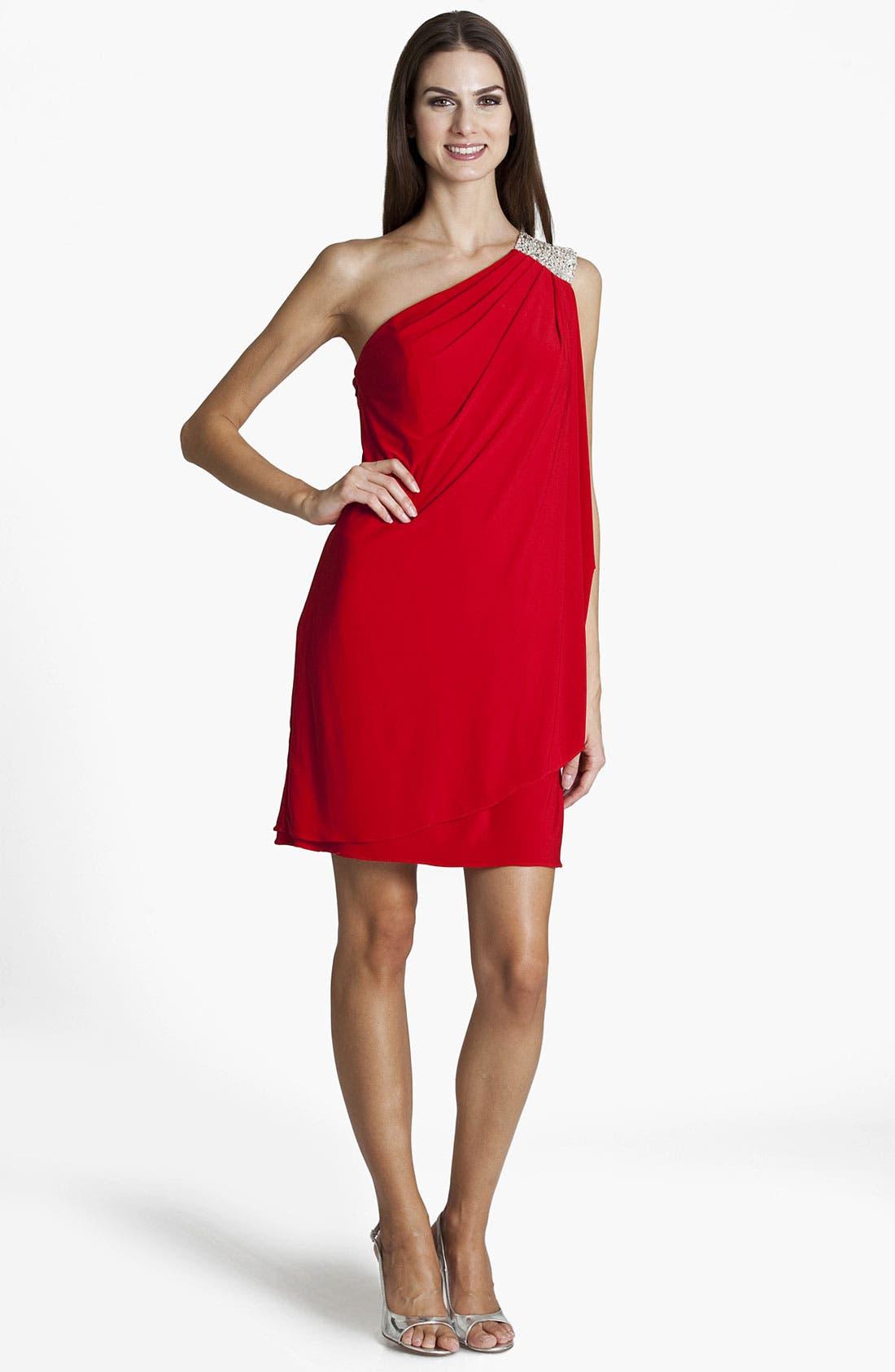 Alternate Image 1 Selected - JS Boutique Embellished One Shoulder Jersey Gown